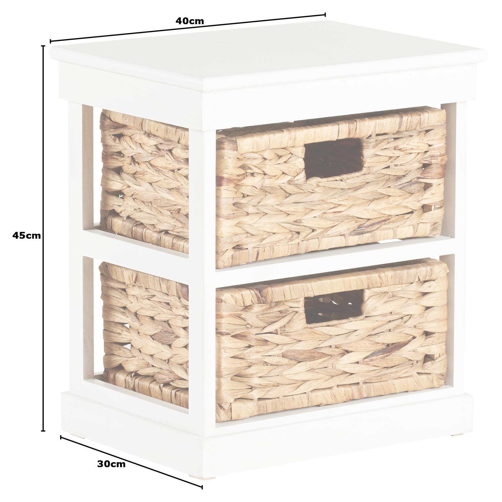 Details Sur Hartleys Commode De Rangement Chambre Table Chevet Nuit Blanc 2 Tiroirs Panier