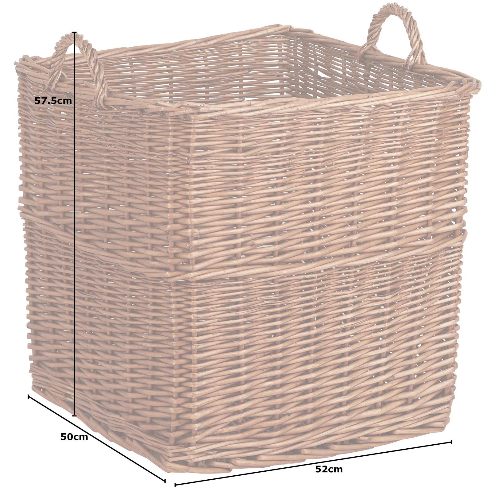 Hartleys Large Square Wicker Firewood Log Basket Fireplace Wood//Toy Storage Box