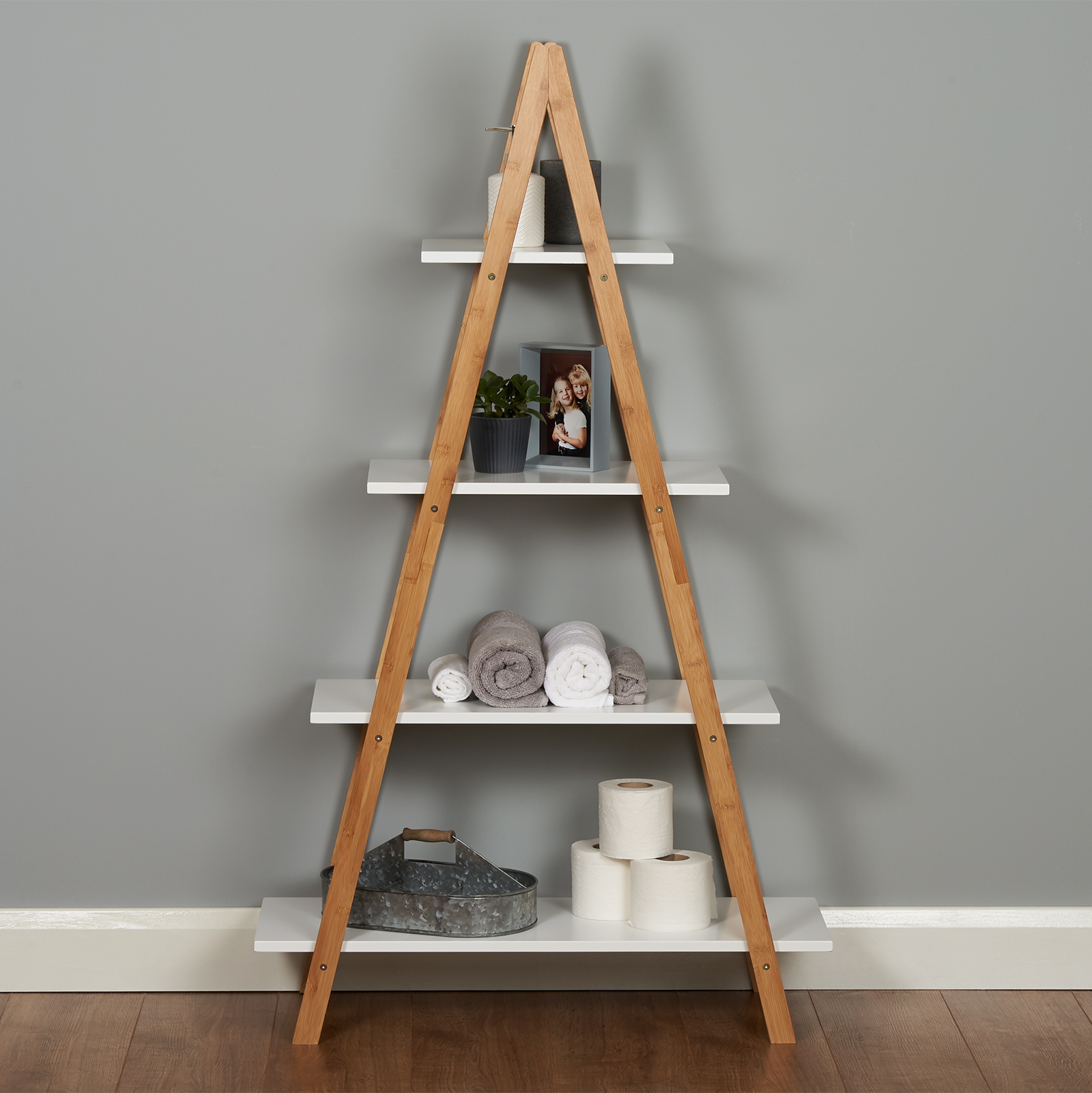 Roost White Ladder Bookshelf Shelf Unit Bamboo Bookcase