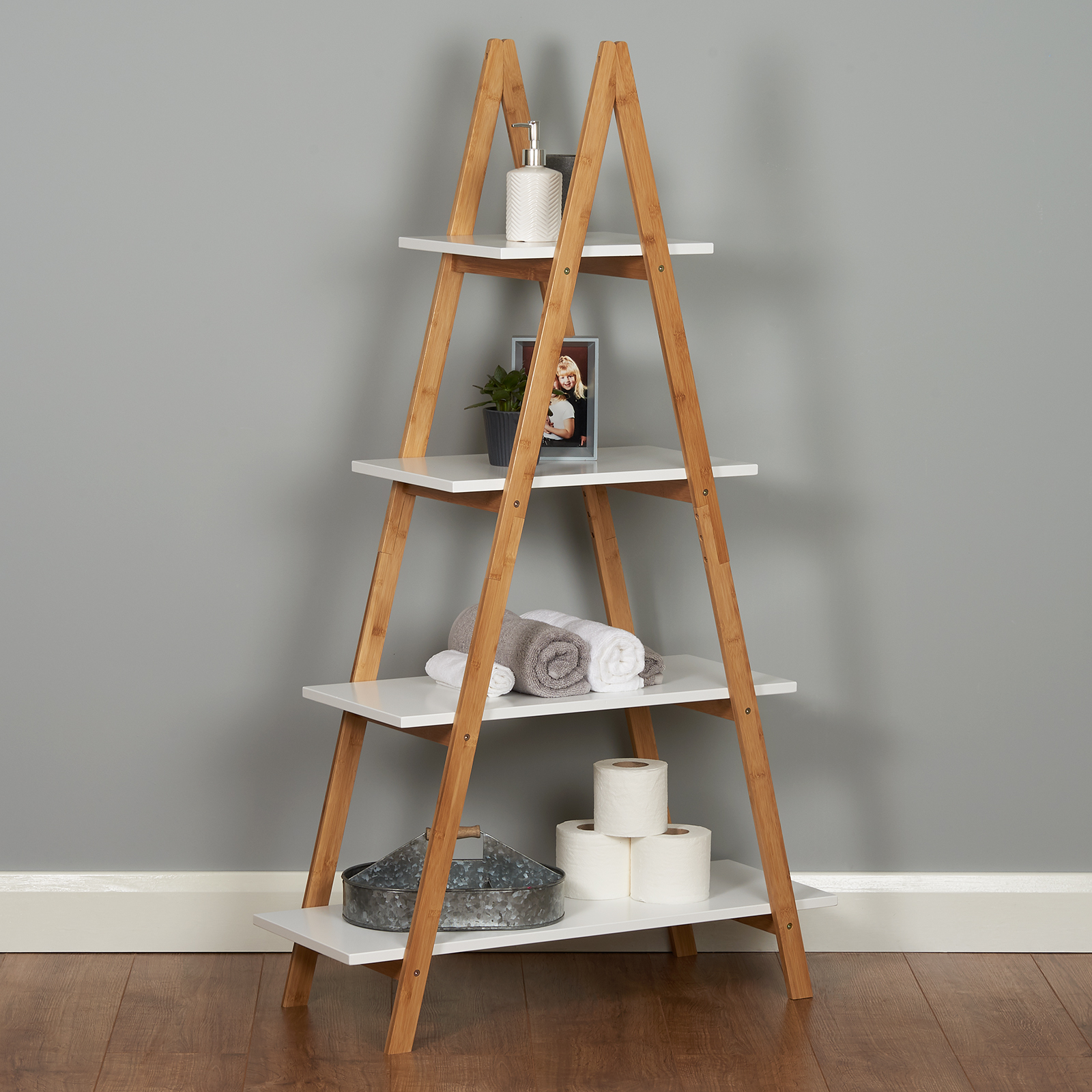 Amazing Roost White Ladder Bookshelf Shelf Unit Bamboo Bookcase Beutiful Home Inspiration Truamahrainfo