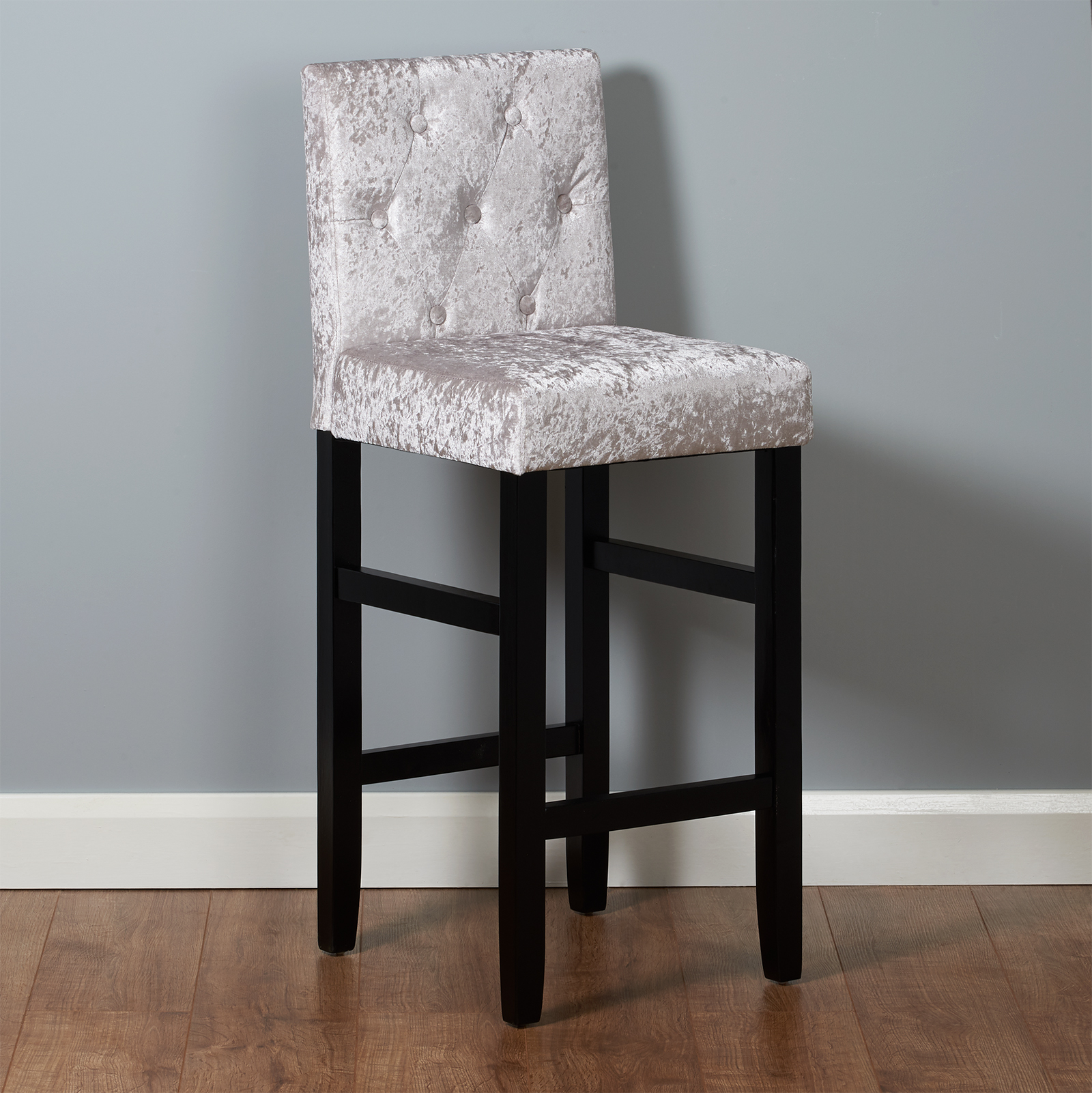 Sentinel Grey Velvet Kitchen Pub Bar Stools Set Of 2 Tall Clic Fabric Dining Chairs