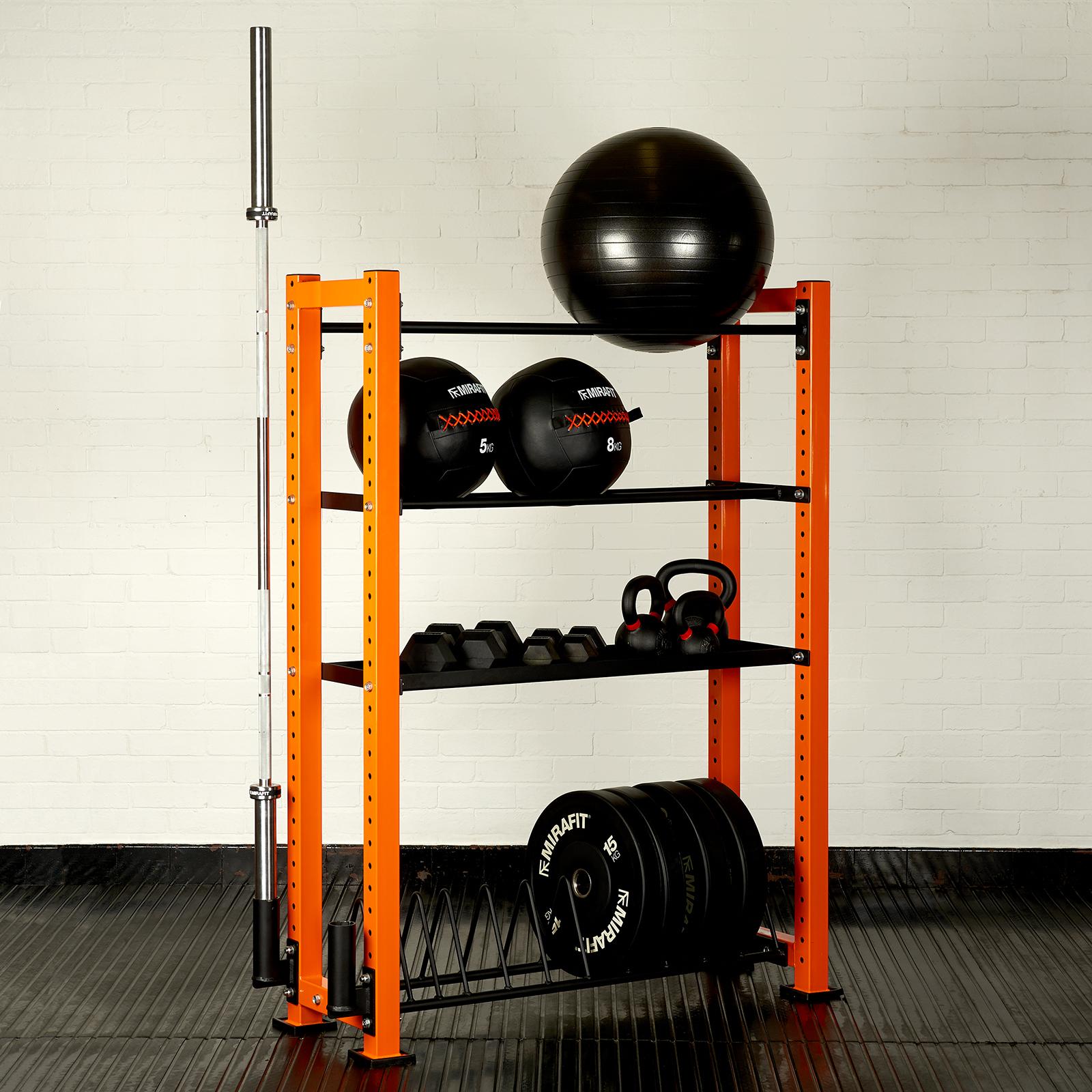 Sentinel Mirafit Gym Equipment Storage Bay Bumper Plate Weight Bar  Kettlebell Rack Stand