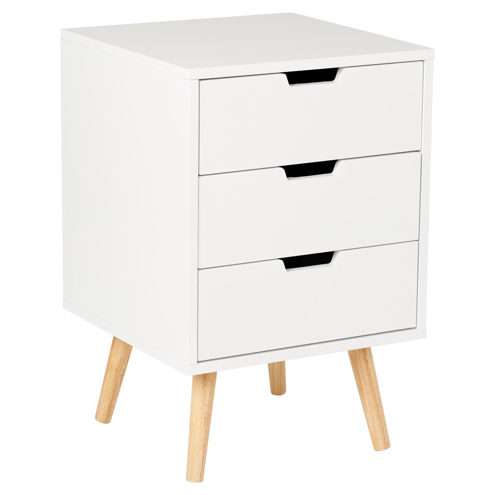 sentinel hartleys table chevet nuit rtro 3 tiroir blanc meuble chambre design scandinave
