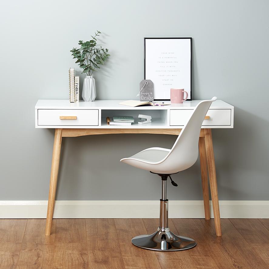 Bureau Retro Design.Hartleys Bureau Coiffeuse Table Retro Scandinave Blanc Bureau