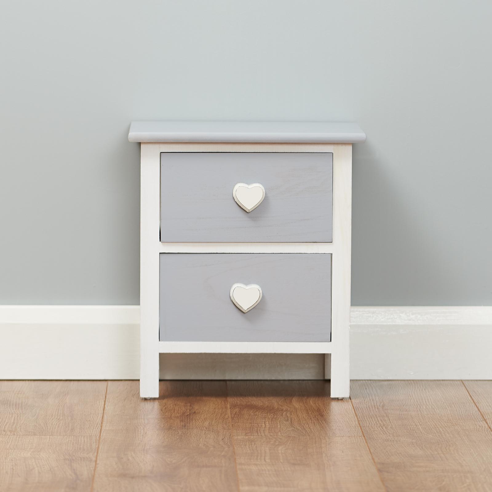 roost petite table de nuit chevet blanche et grise avec 2 tiroirs de rangement ebay. Black Bedroom Furniture Sets. Home Design Ideas