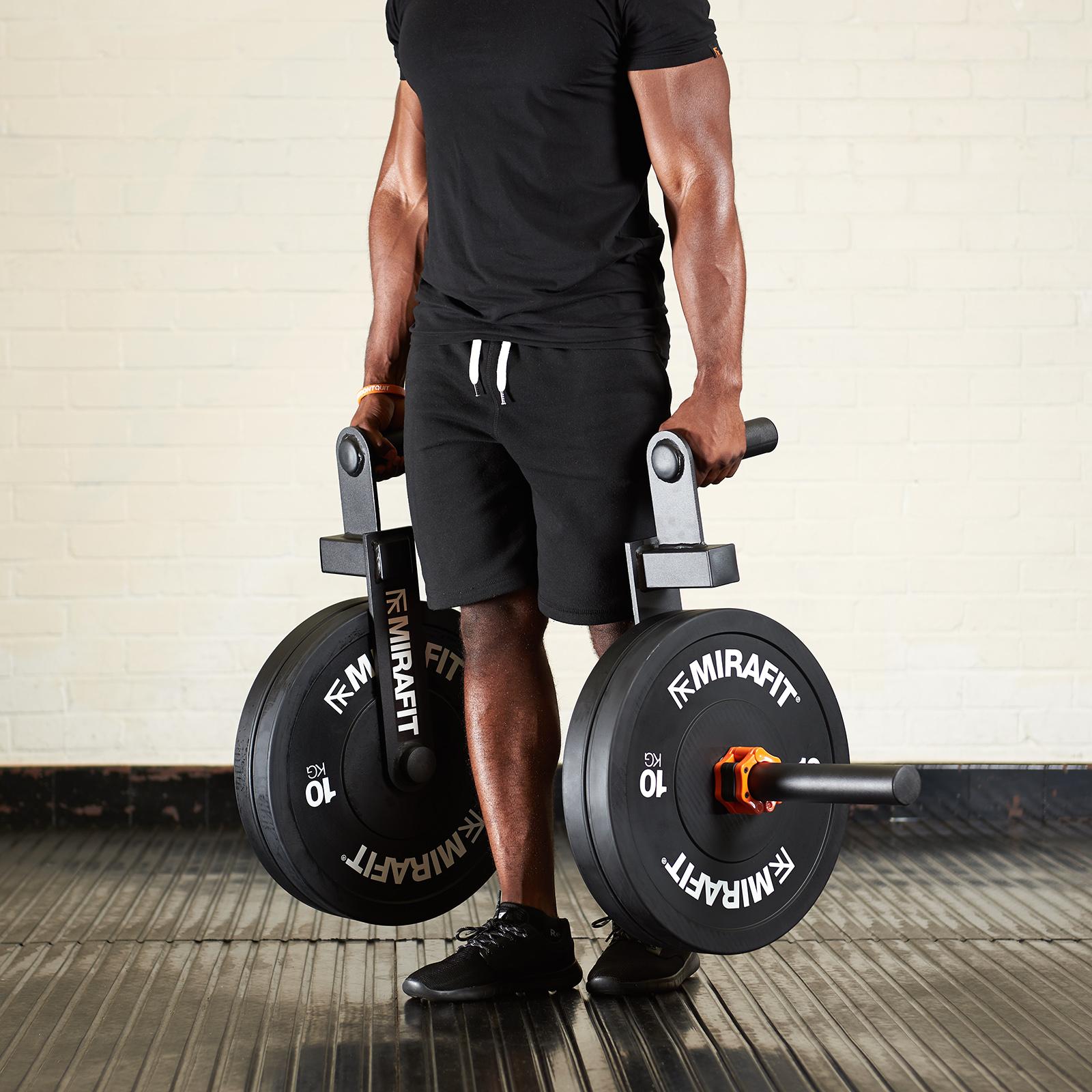 Verschiedene Gewichte in Schwarz MiraFit Olympia-Gewichtsscheiben gummiert