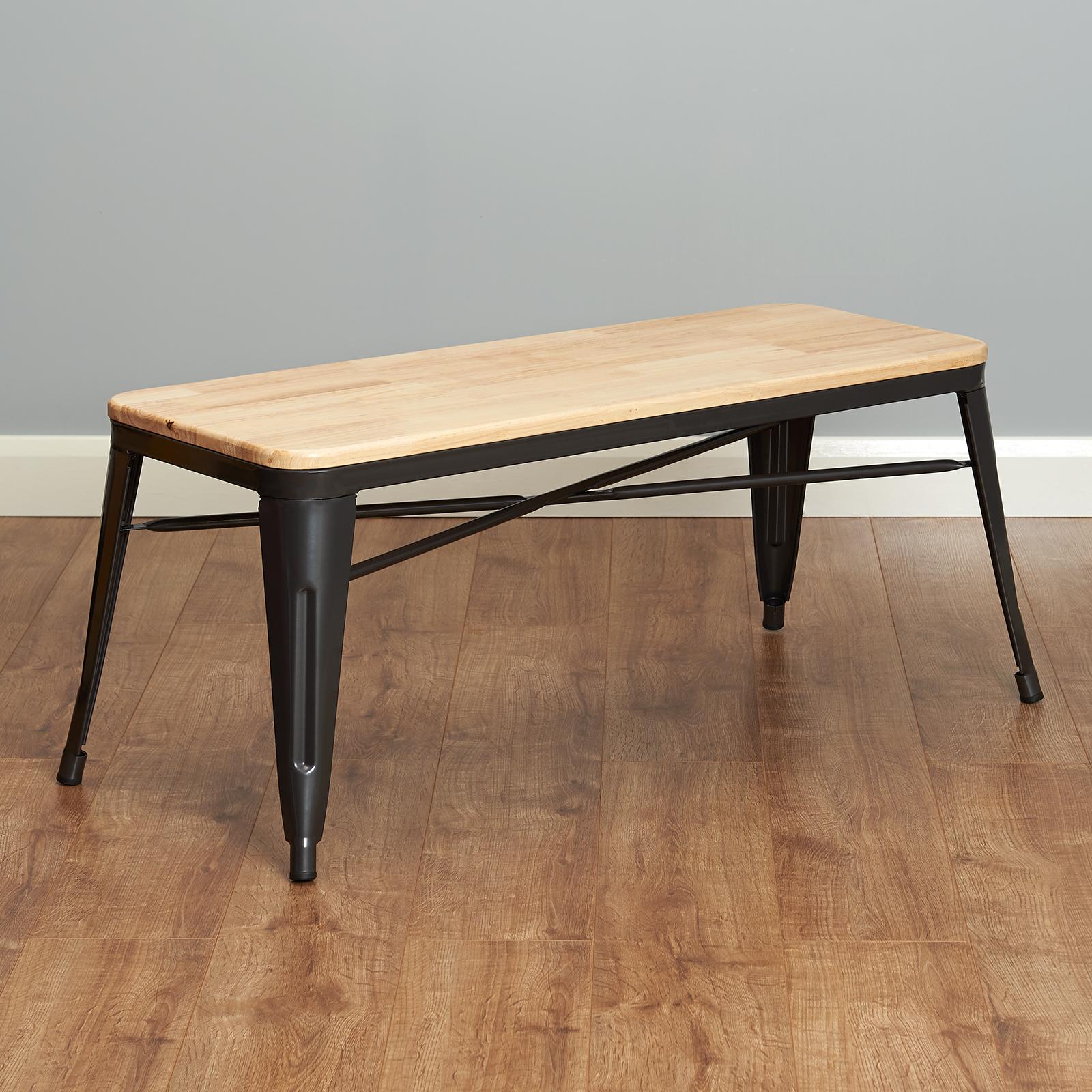 Hartleys Grey Industrial Metal Bench Seat Solid Wood