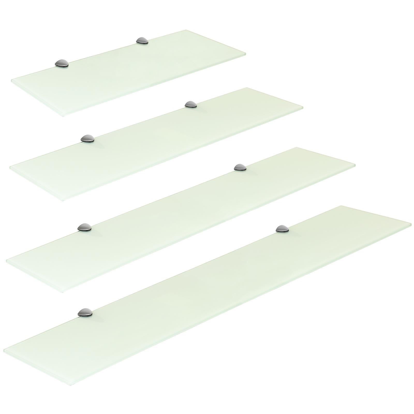 Fissaggi Per Mensole.Dettagli Su Hartleys Mensola Scaffale Vetro Bianco Con Fissaggi In Cromo Varie Dimensioni