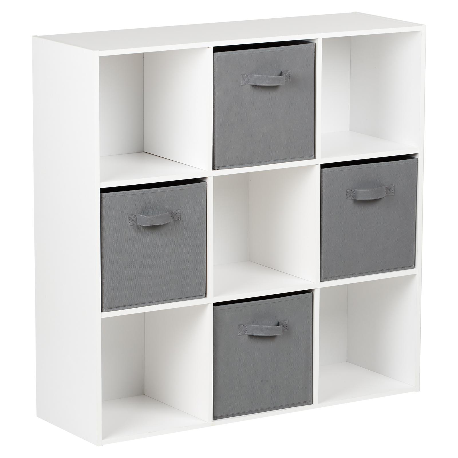 Scatole Per Scaffali.Dettagli Su Hartleys Mobile Scaffale Nero Con 9 Cubi Modulare E 4 Cassetti Scatole Grigio