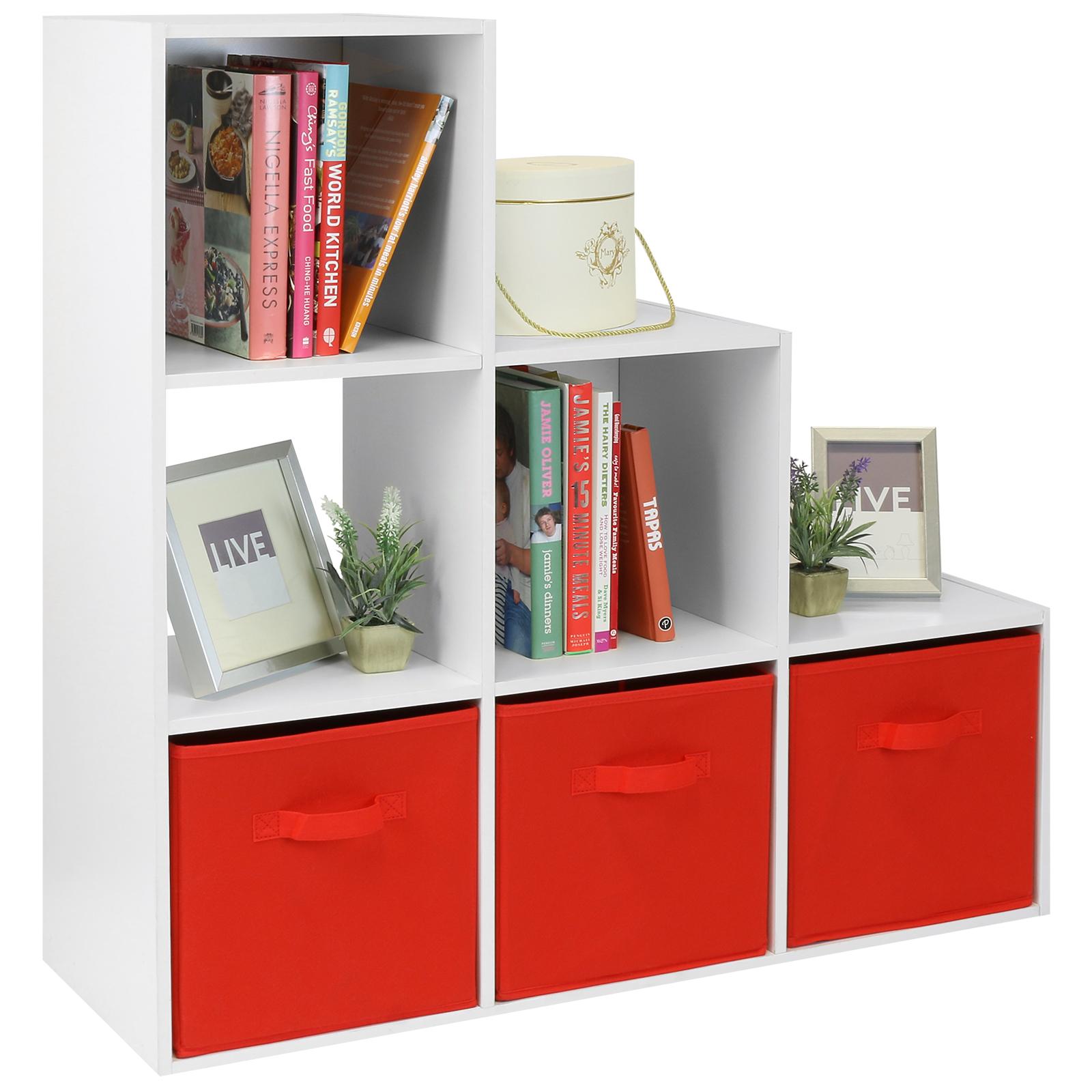 Scaffali Low Cost.Dettagli Su Hartleys Mobile Scaffale Bianco Con 6 Cubi Modulare Moderno E 3 Cassetti Rosso