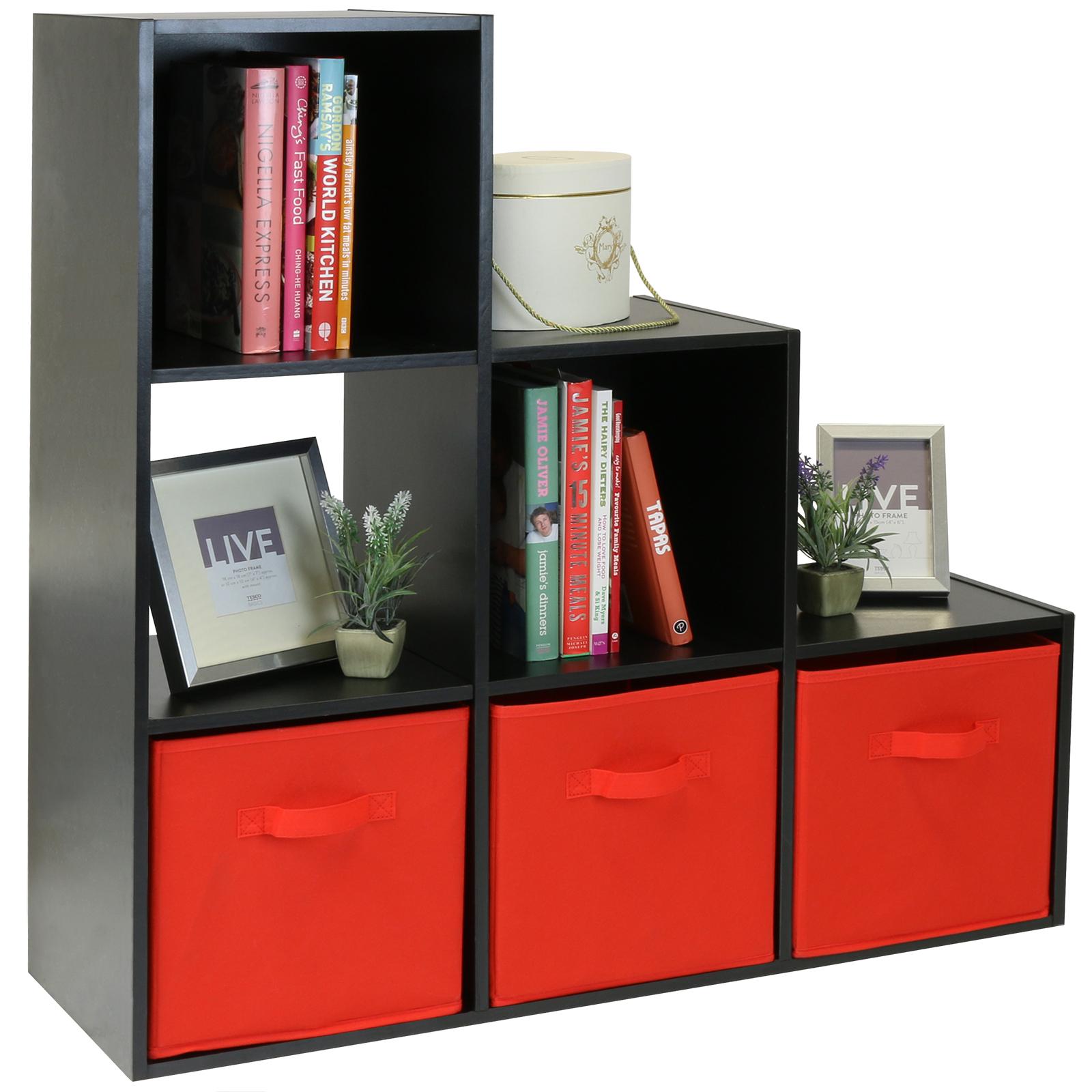 Scaffali Low Cost.Dettagli Su Hartleys Mobile Scaffale Nero Con 6 Cubi Modulare Moderno E 3 Cassetti Rosso