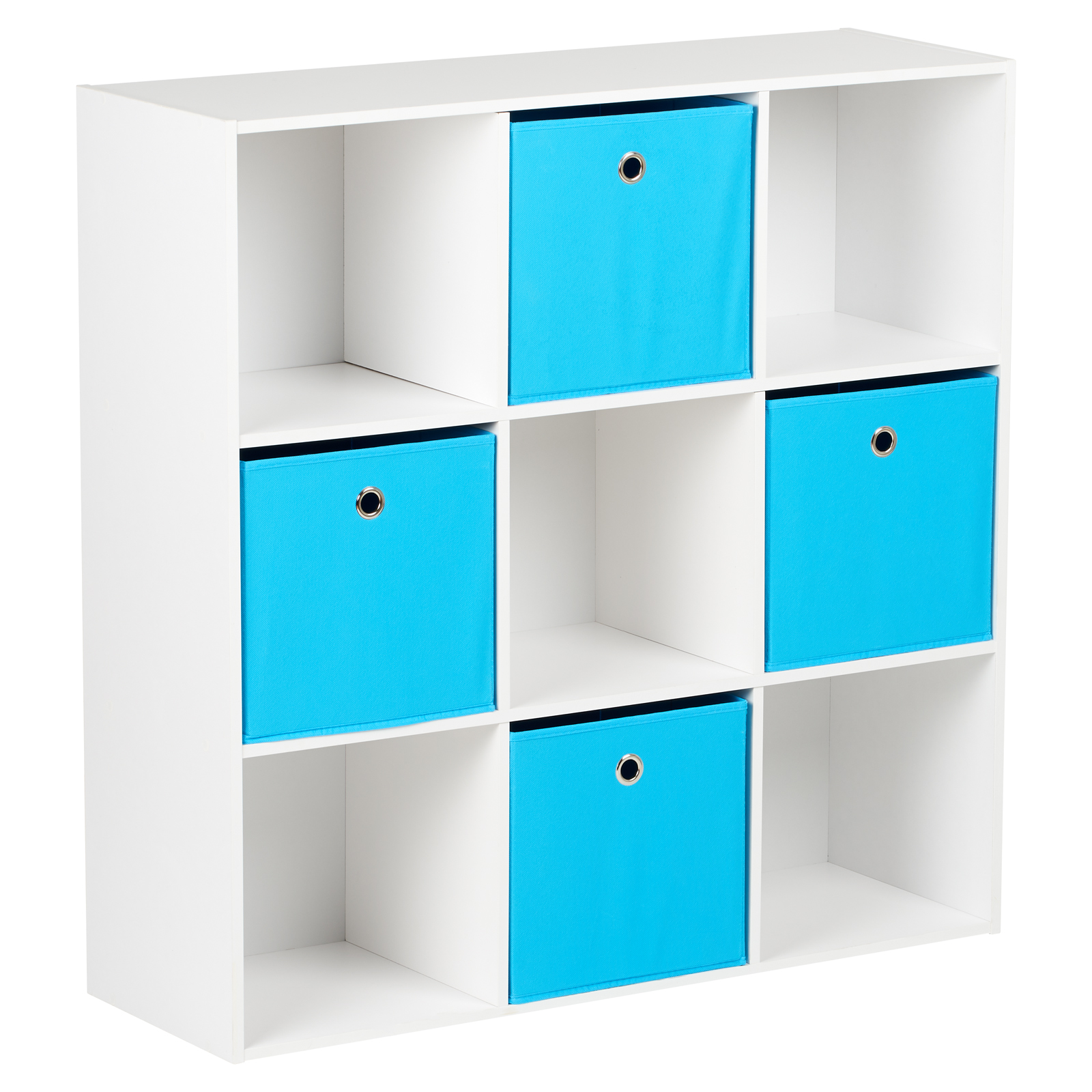 Scatole Per Scaffali.Dettagli Su Hartleys Mobile Scaffale Bianca Moderno 9 Cubi Modulare 4 Cassetti Scatole Blu