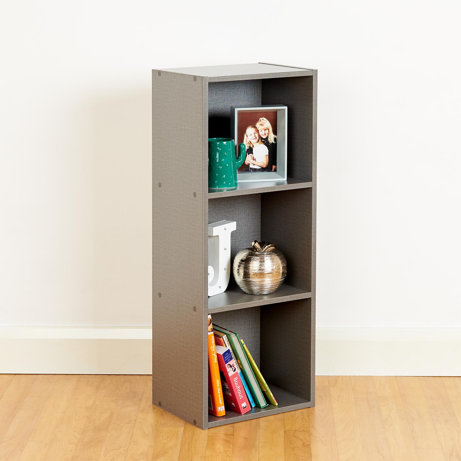 3 Tier Wooden Grey Cube Bookcase Storage Display Unit Modular ...