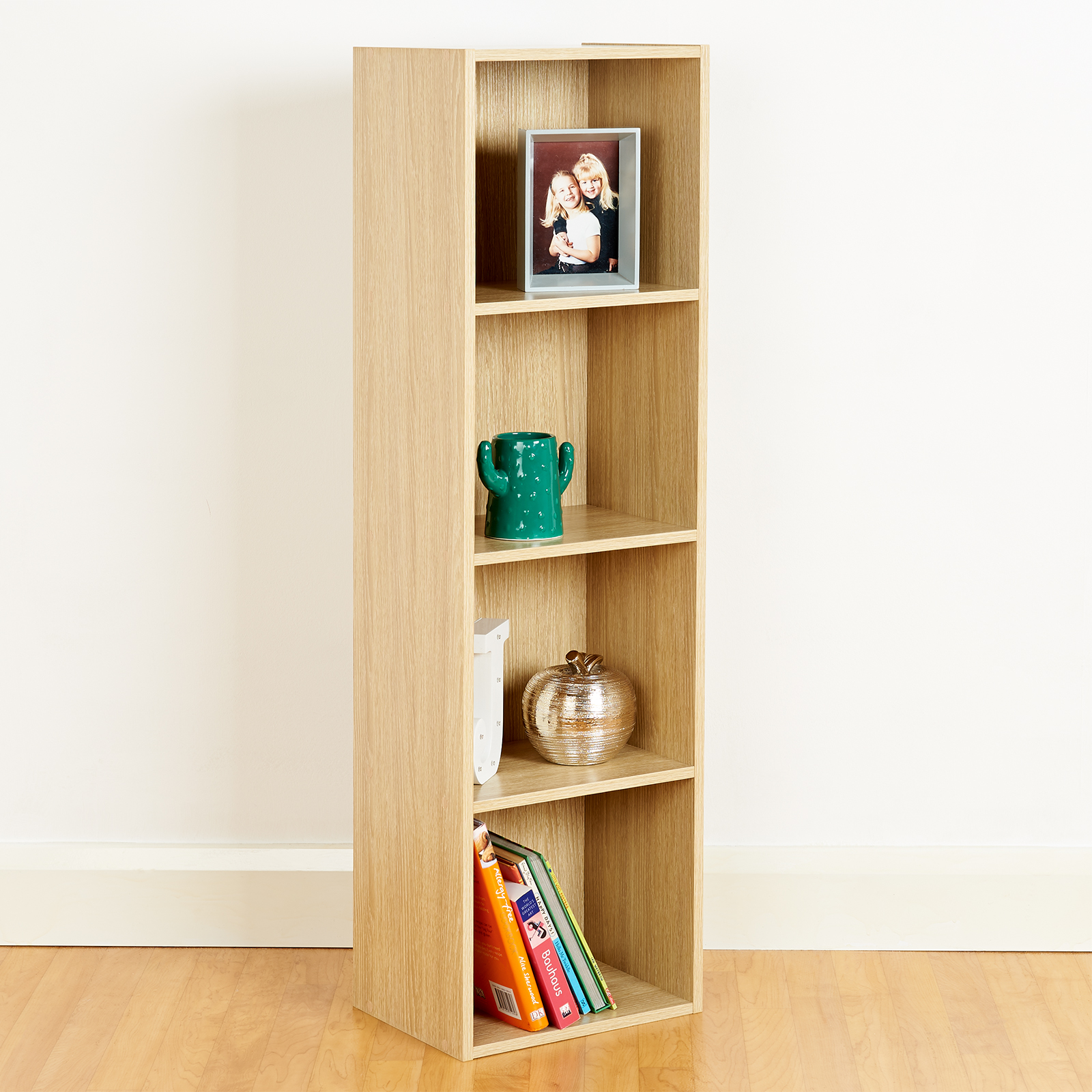 Details About 4 Tier Wooden Oak Cube Bookcase Storage Display Unit Modular Shelving Shelves