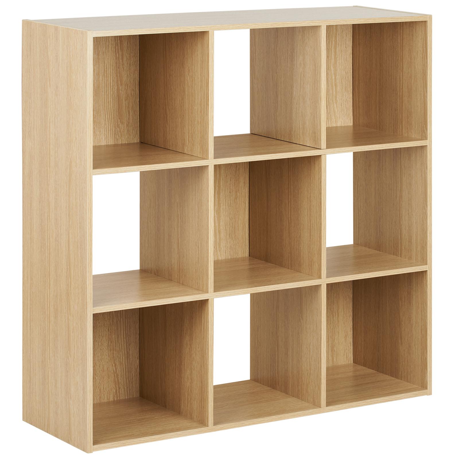 Hartleys Wood 9 Cube Modular Square Storage/Shelving 3 Tier Shelf ...