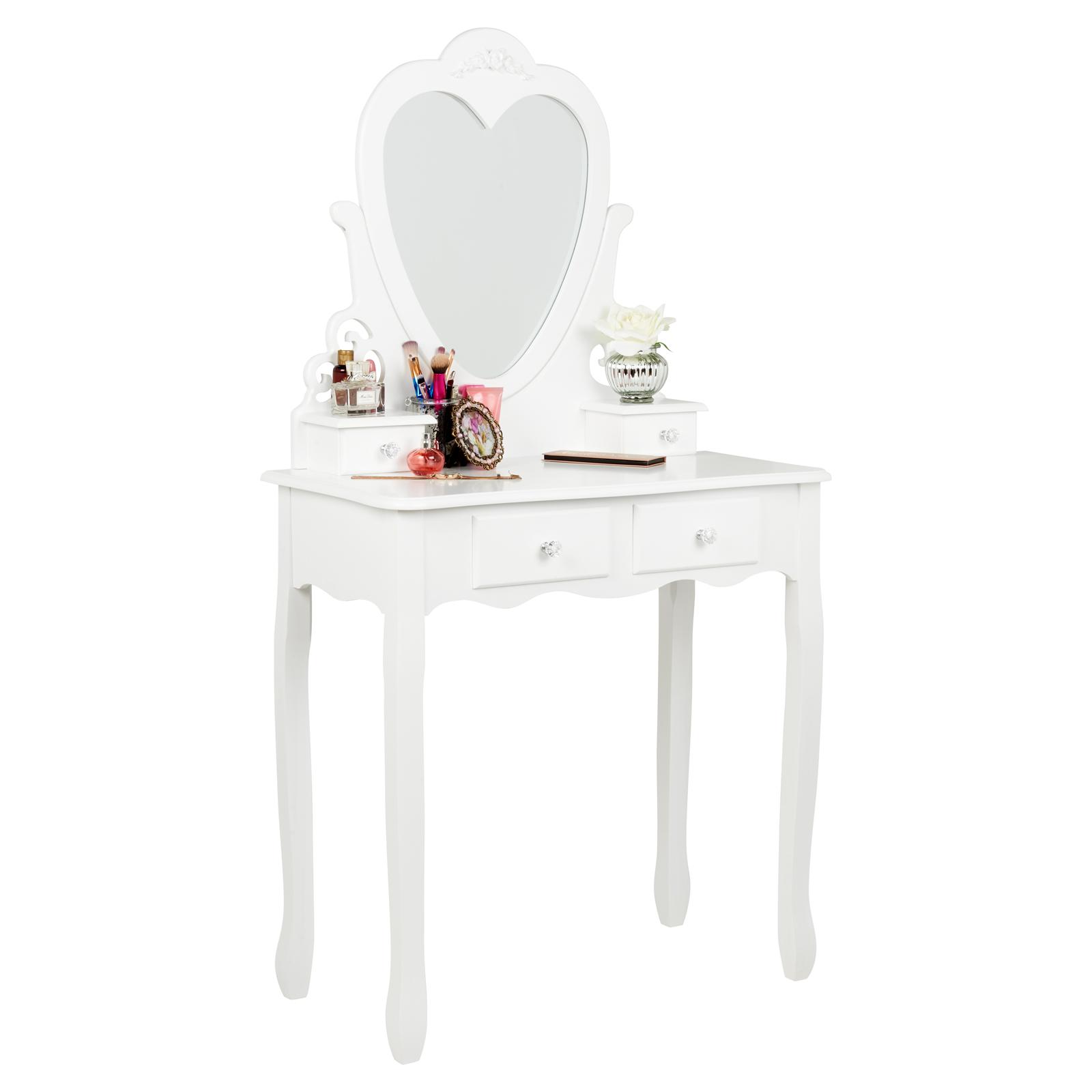 Details About Hartleys White 4 Drawer Dressing Table Heart Mirror Bedroom Makeup Vanity Desk