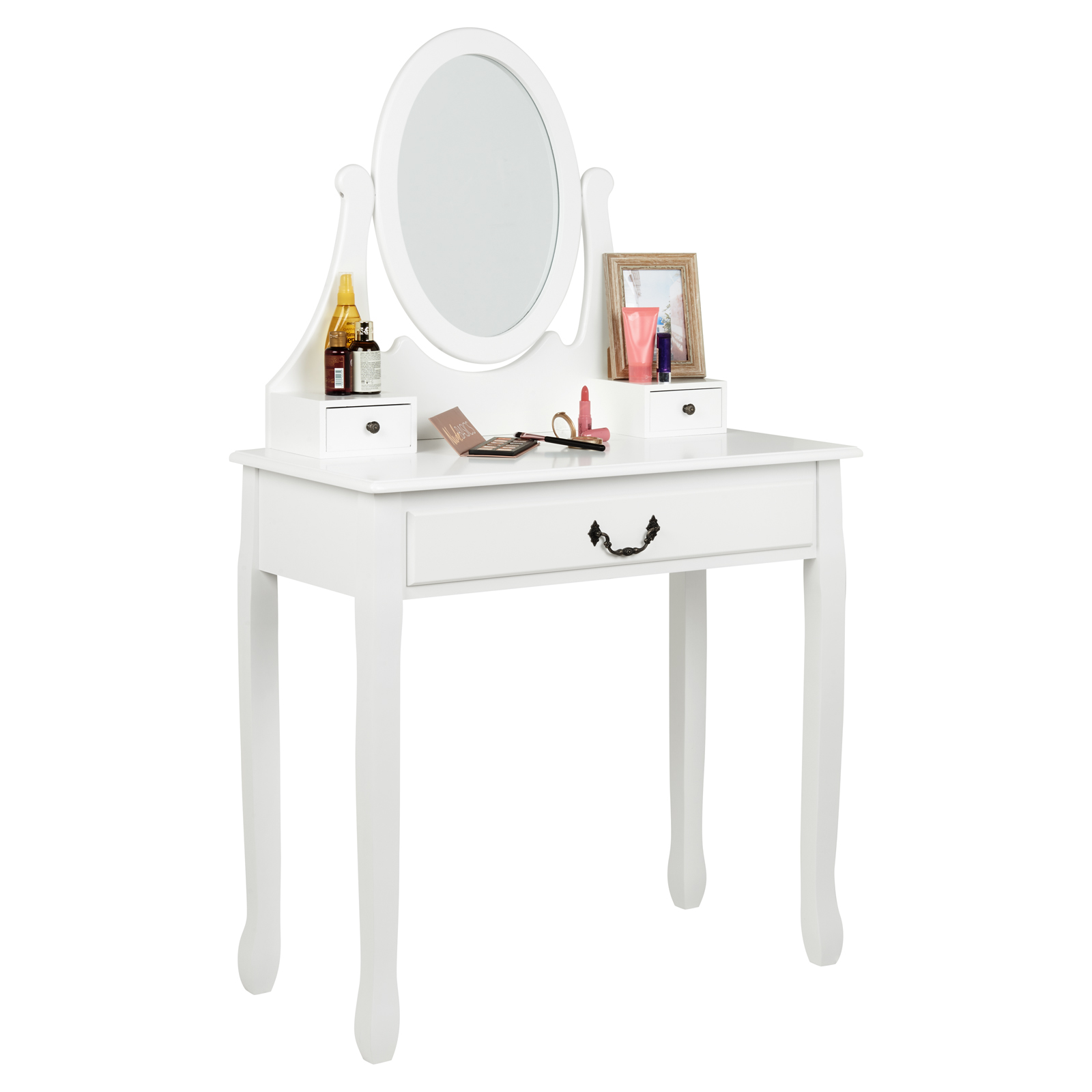 Details About Hartleys White 3 Drawer Dressing Table Oval Mirror Bedroom Makeup Vanity Desk