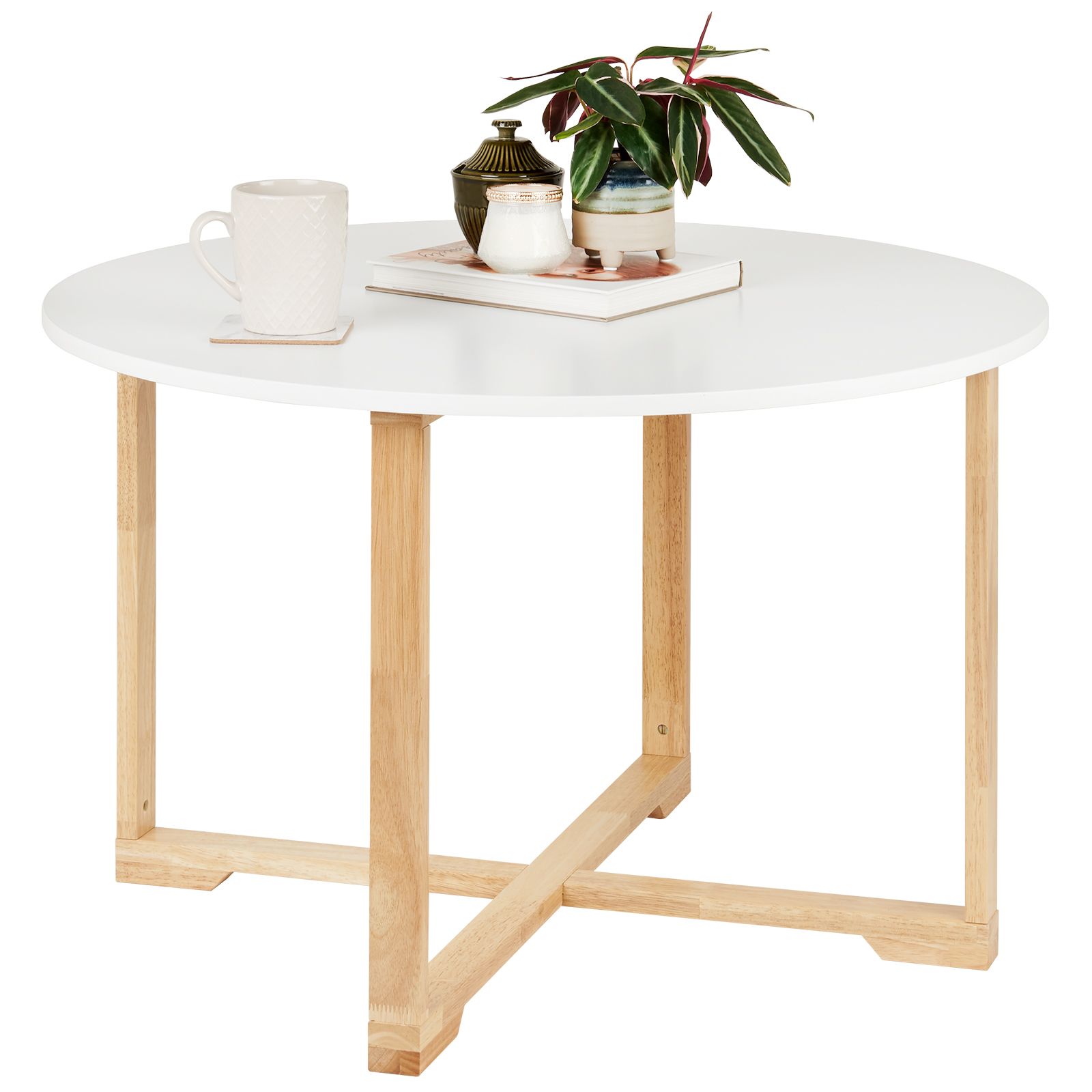Picture of: Hartleys Large White Round Coffee Table Bamboo Modern Living Room Home Furniture 5051990767072 Ebay