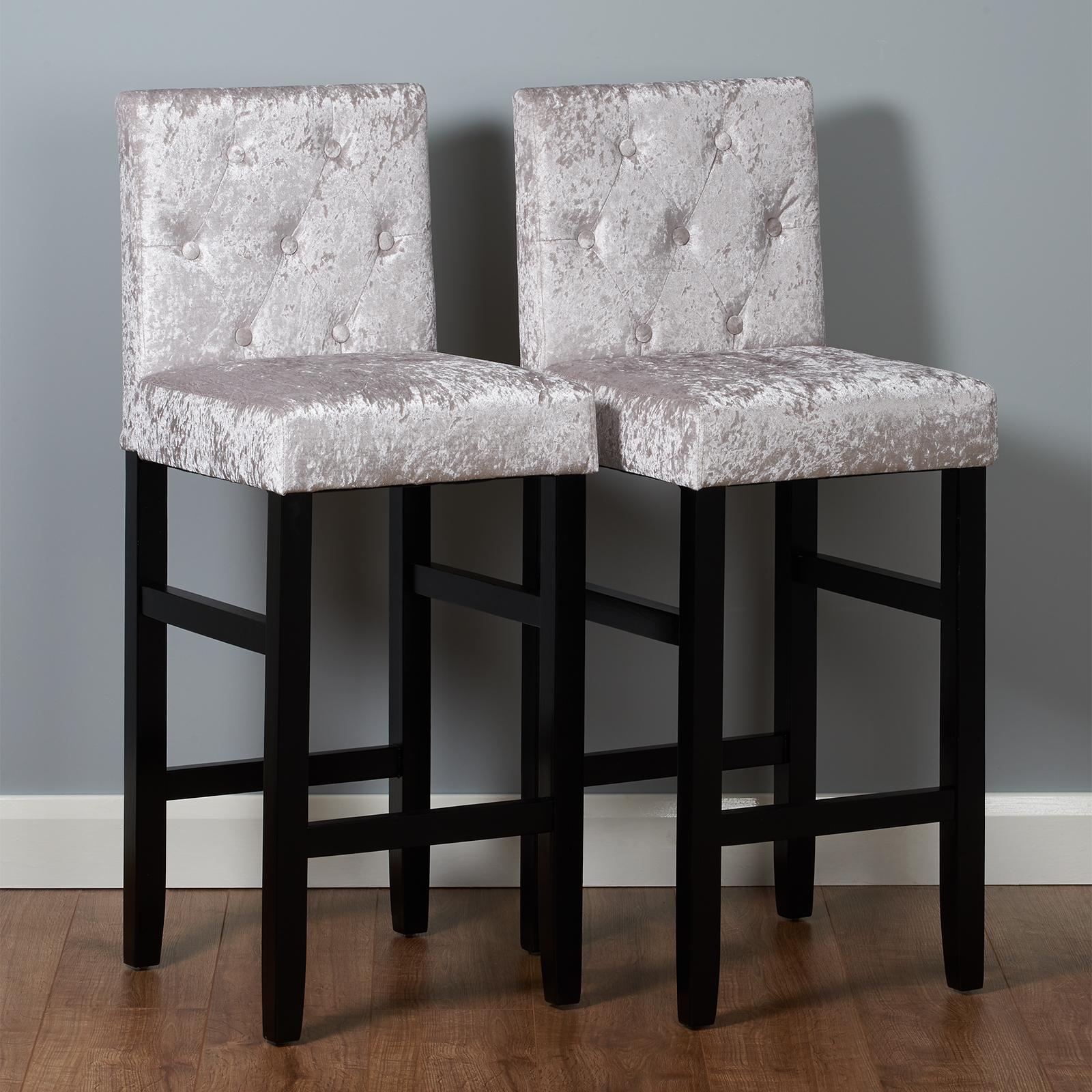 Roost Set di 2 sgabelli da bar in velluto grigio moderna seggiolino ...