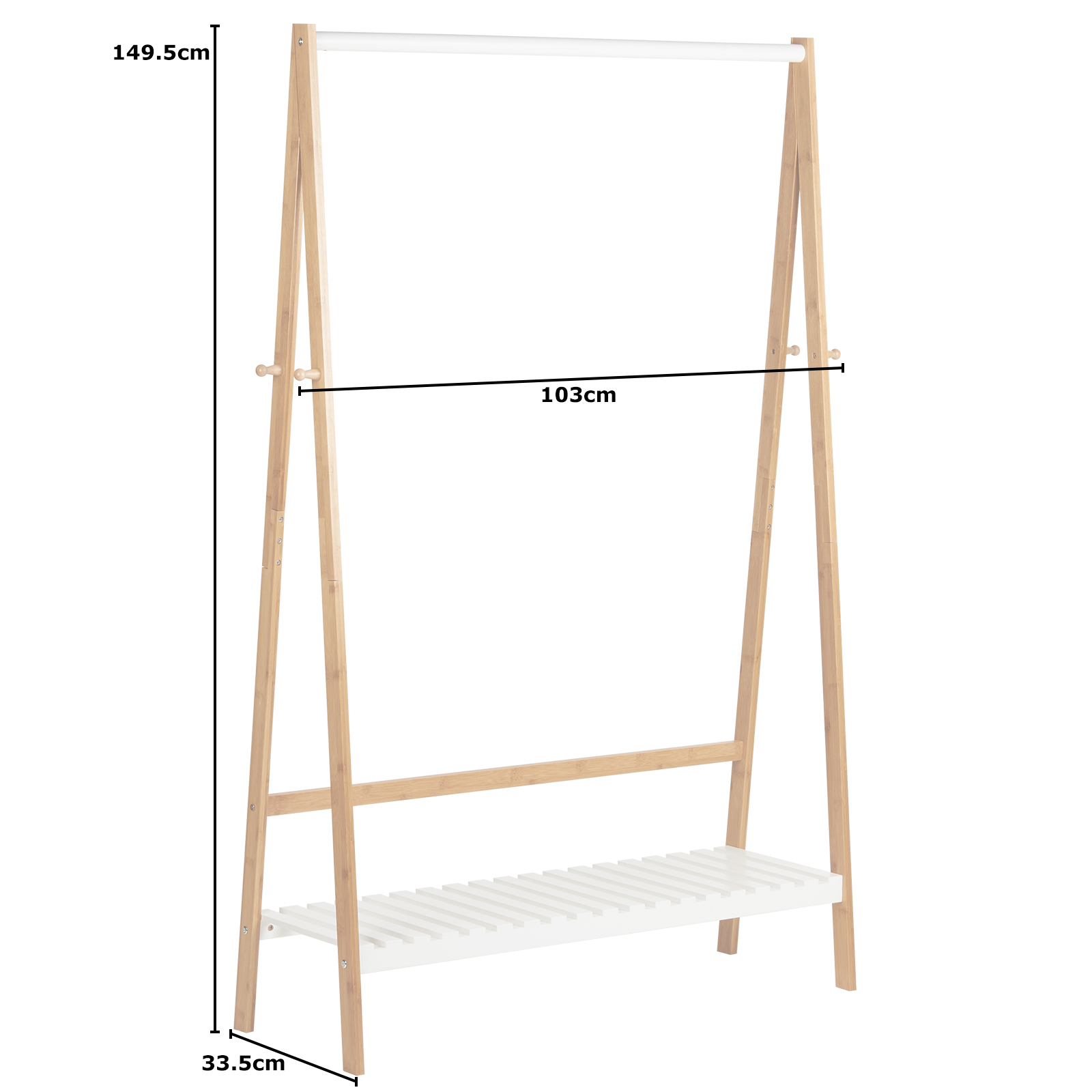 Stand Appendiabiti.Hartleys Stand Appendiabiti Bianco Bambu Scaffale Regale Armadi