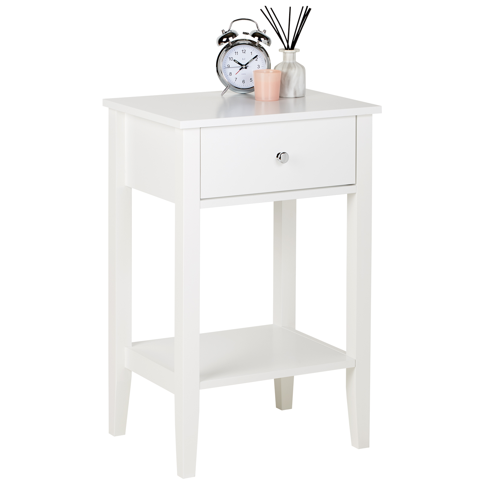 finest selection f3583 1954c Details about Hartleys White & Chrome Bedside Side Table Bedroom/Living  Room Nightstand Bed