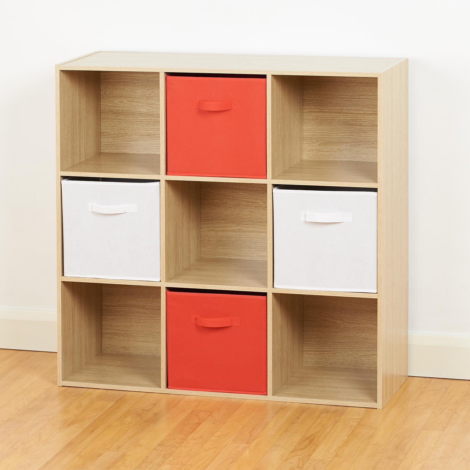 Kids Storage Cube Organizer Toy Box Kids Bedroom Furniture: Oak 9 Cube Storage Unit White & Red Boxes Childrens/Kids