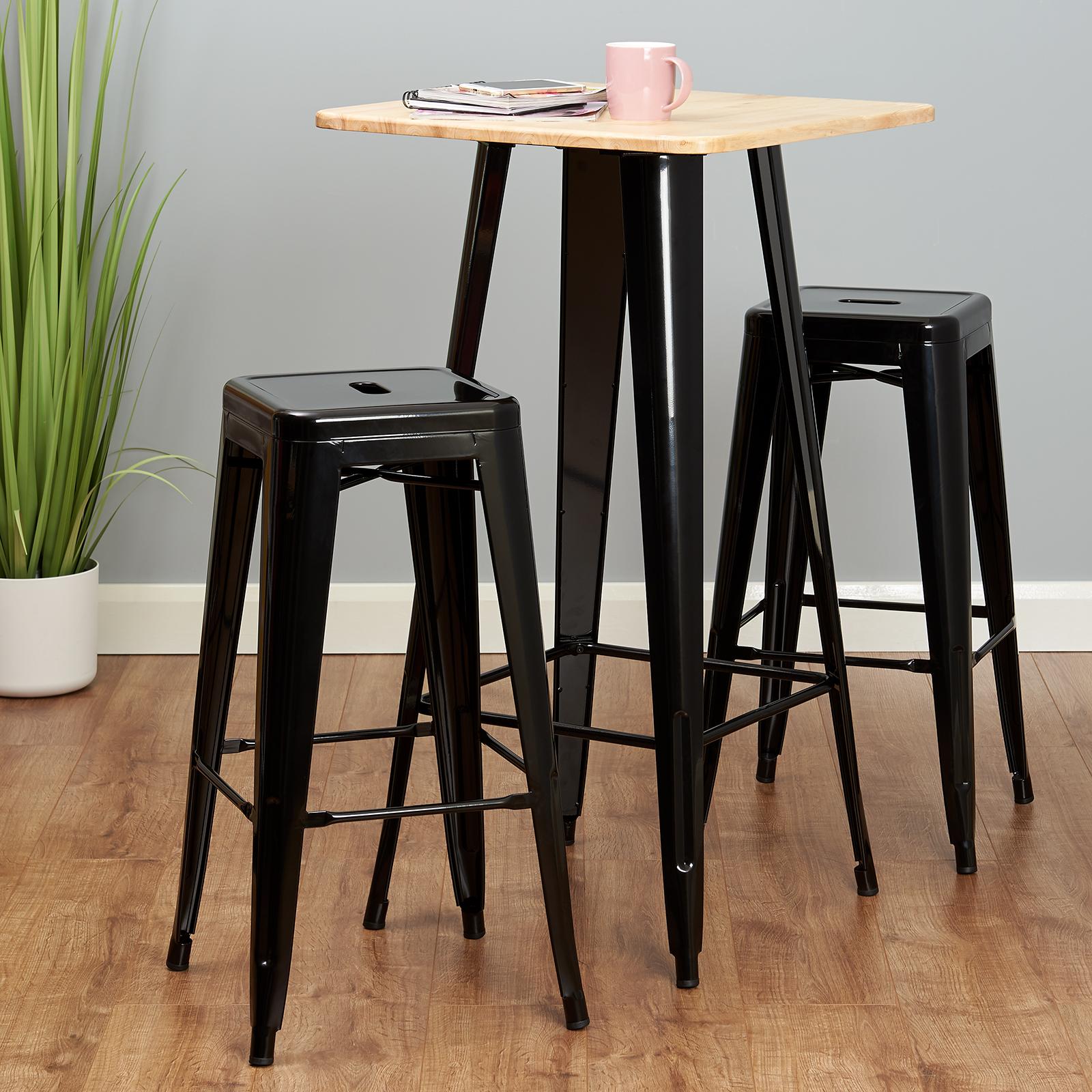 Table Haute De Bar.Details Sur Hartleys Table Haute De Bar Bistro Style Industriel En Metal Noir Haut En Bois