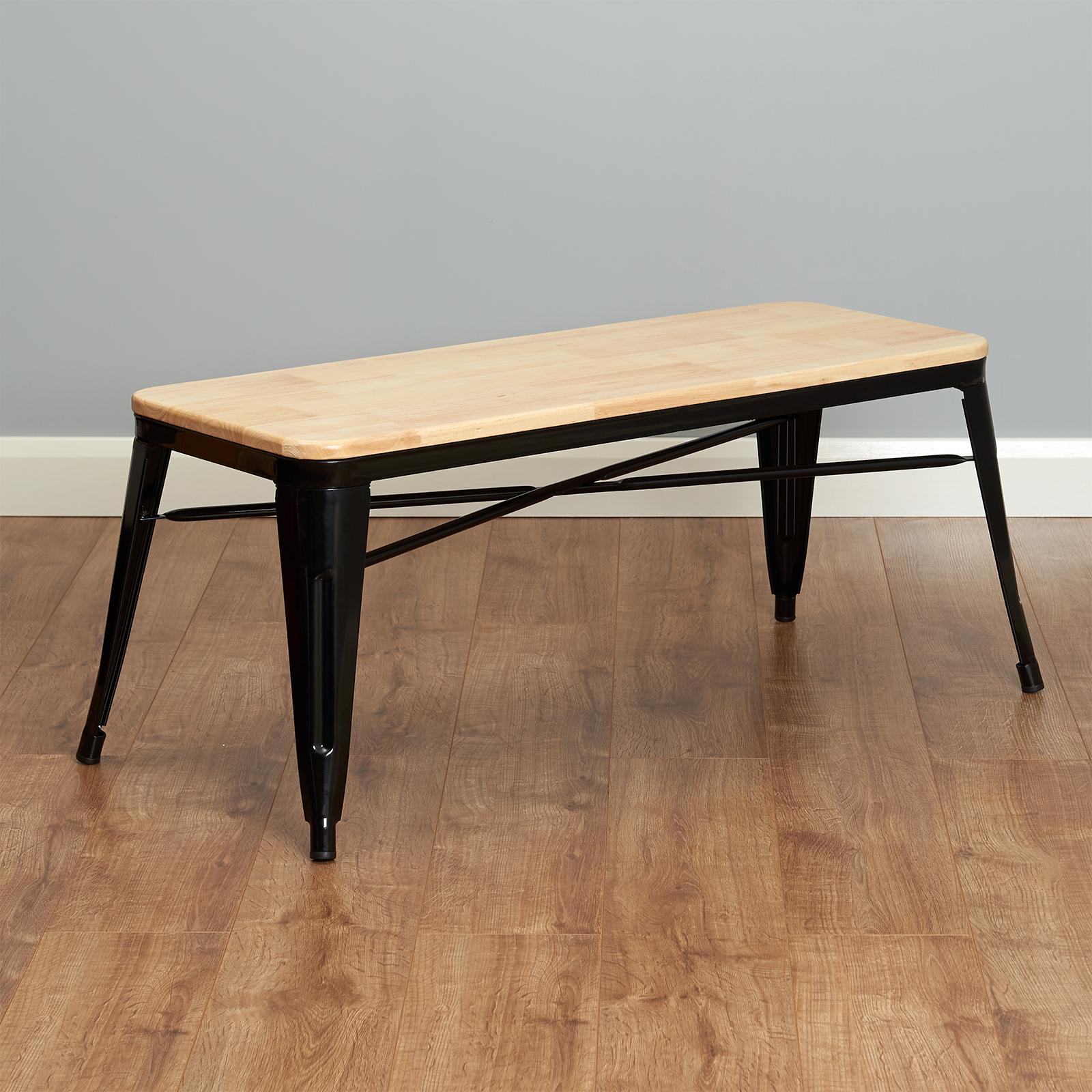 Chaise Bois Et Metal Industriel détails sur hartleys banc industriel en métal noir & assise en bois  chaise/siège banquette