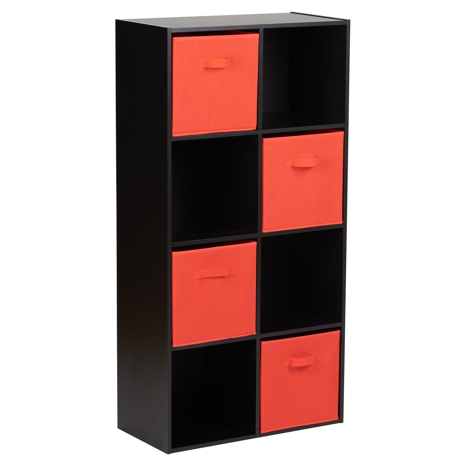 Cassettiera 4 Cassetti Prezzi.Dettagli Su Hartleys Mobile Nero 8 Cubi E 4 Cassetti Rosso Scaffale Moderno Cassettiera