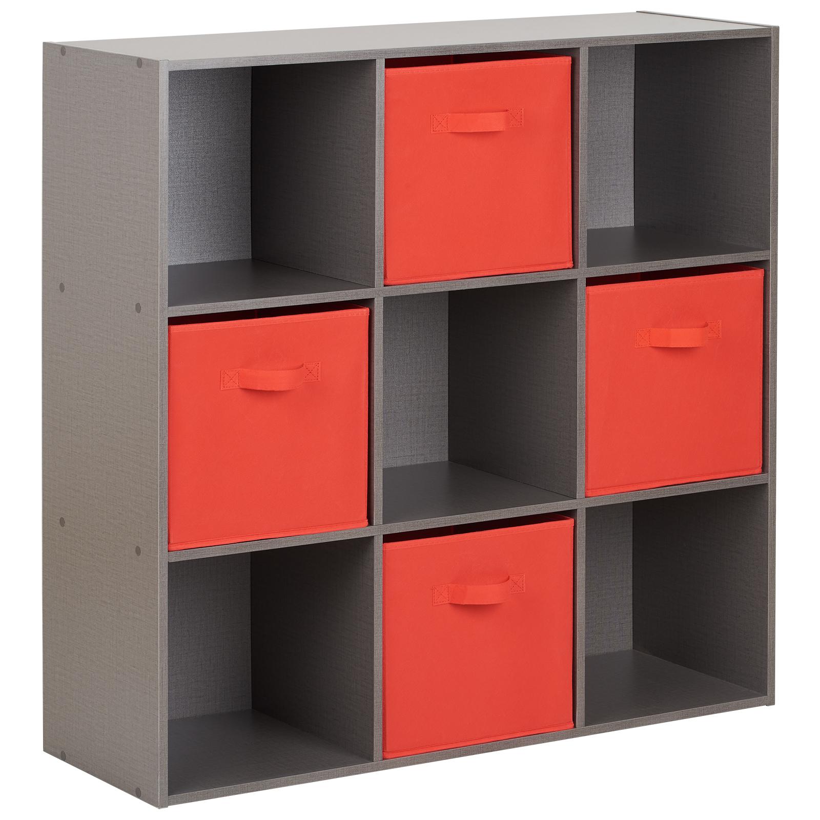 Cassettiera 4 Cassetti Prezzi.Dettagli Su Hartleys Mobile Scaffale Librerie Cassettiera Grigio 9 Cubi E 4 Cassetti Rosso