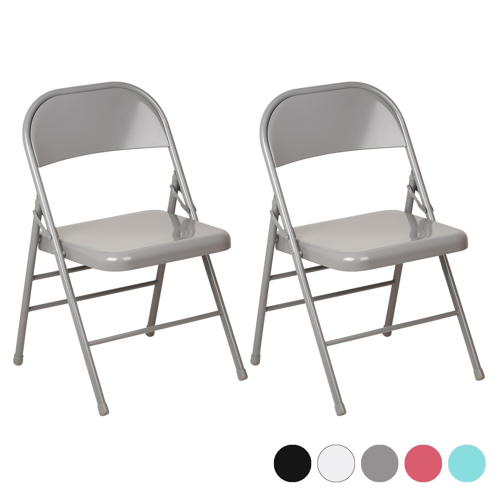Hartleys Set di due sedie pieghevoli sedia pieghevole in metallo ...