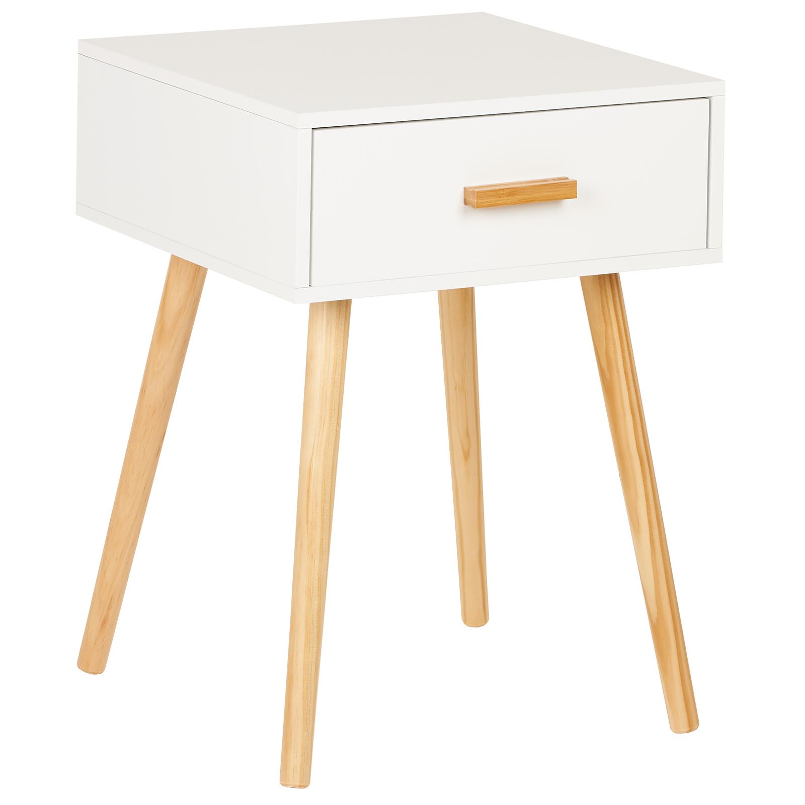 Hartleys Table De Nuit Chevet Retro Chambre Blanc Tiroir Style