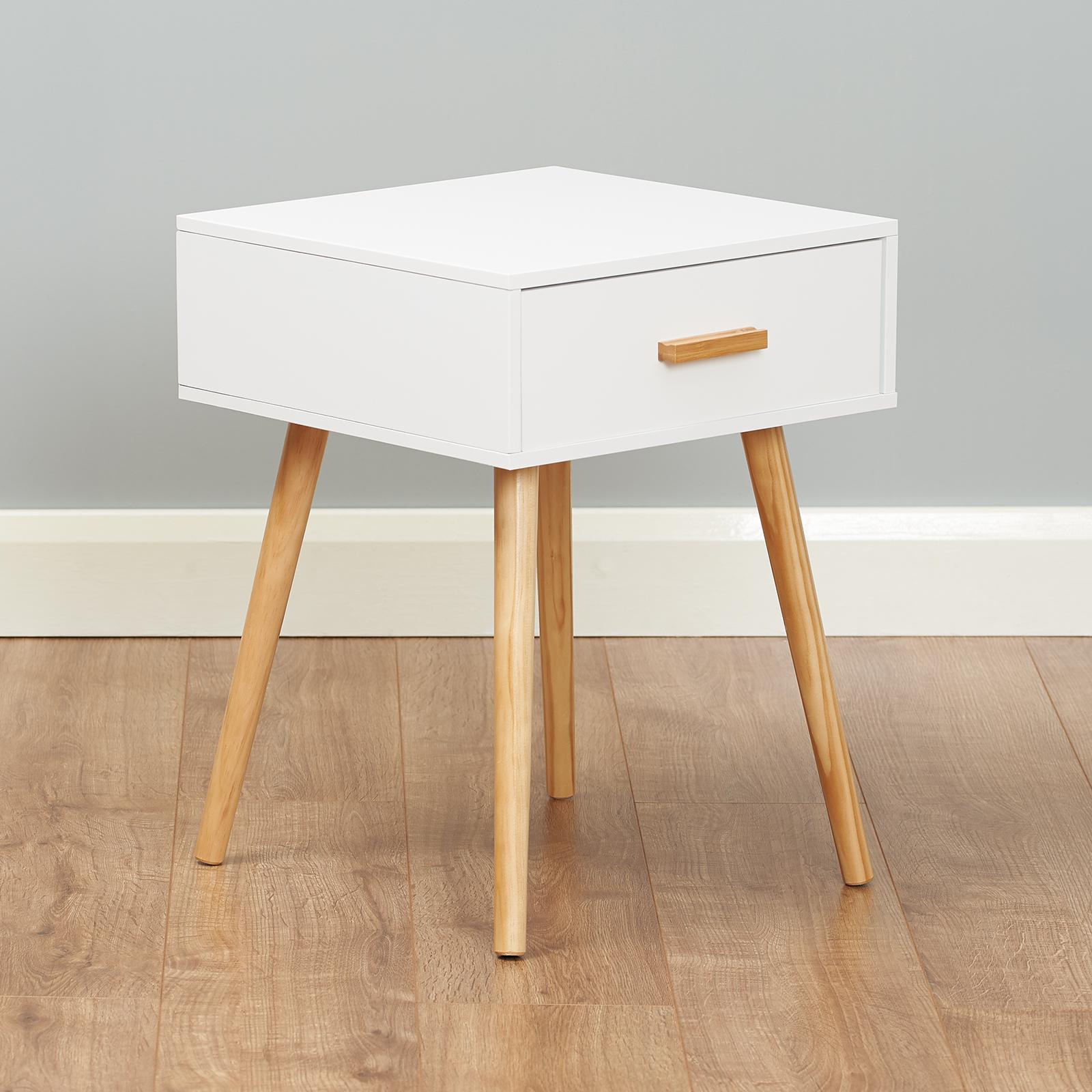 Hartleys Table Chevet Nuit Rétro 3 Tiroir Blanc Meuble Chambre Design Scandinave