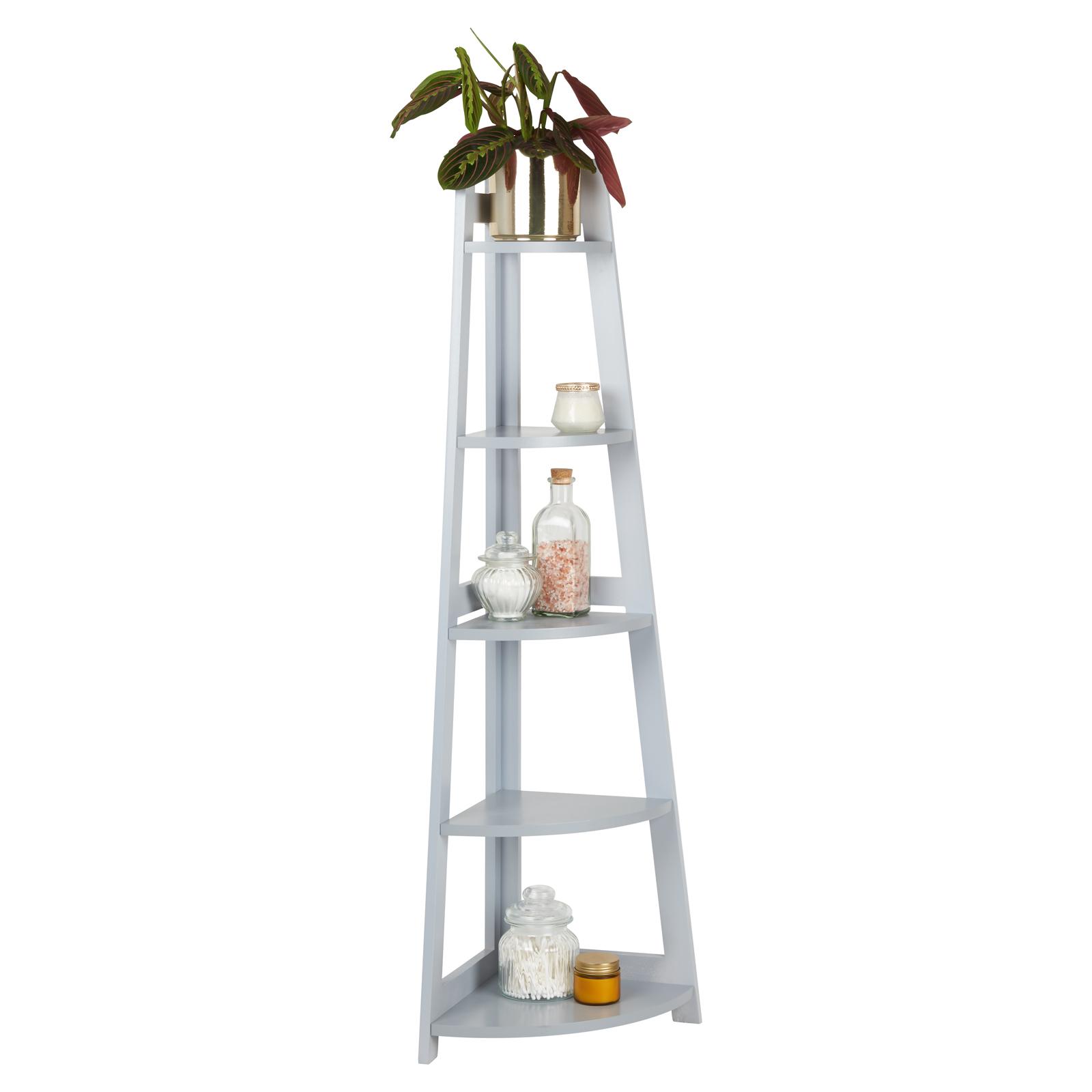 Hartleys 5 Tier Grey Corner Freestanding Ladder Shelf Home