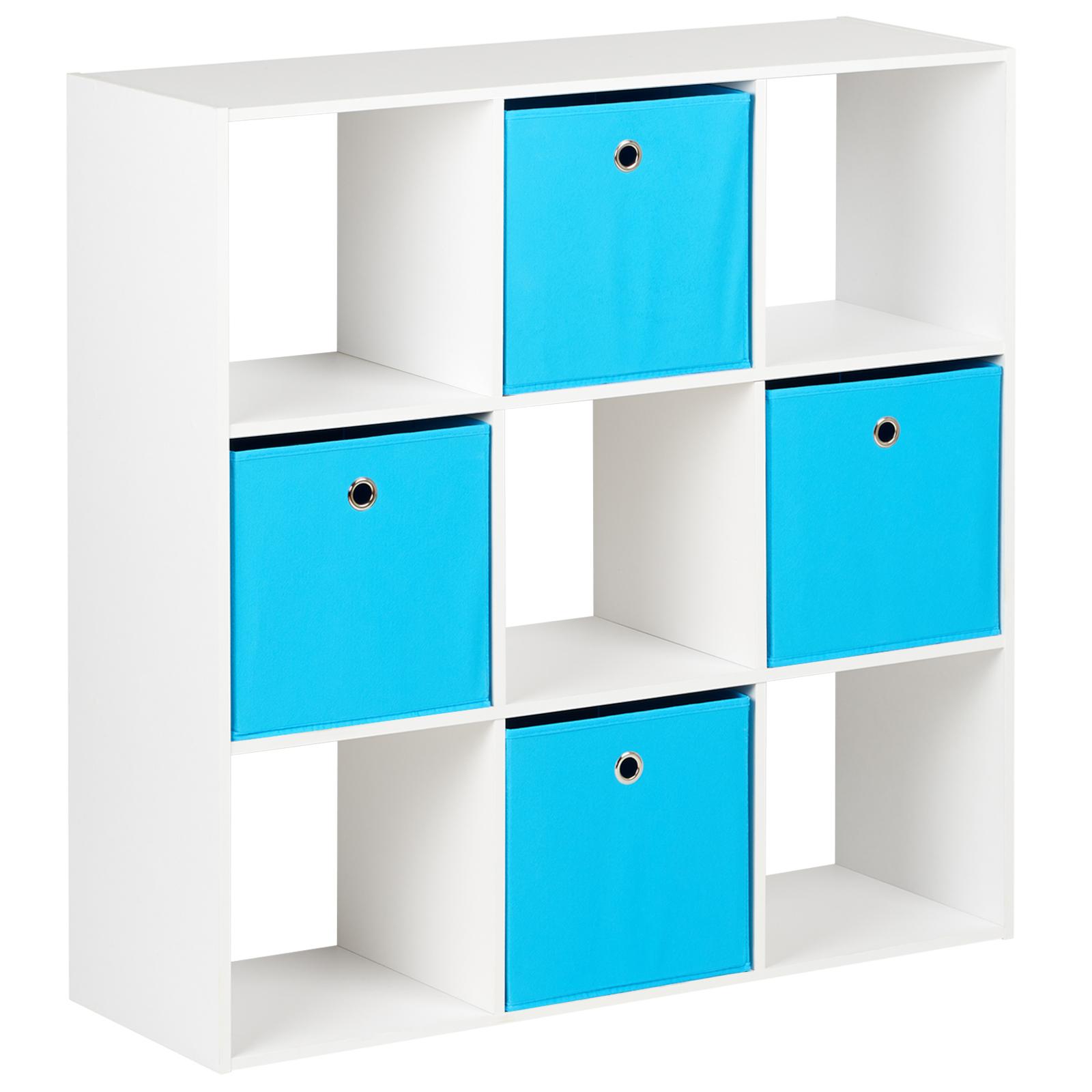 Hartleys White 8 Cube Shelving Unit Furniture Shelves 4 Blue Fabric Storage Box
