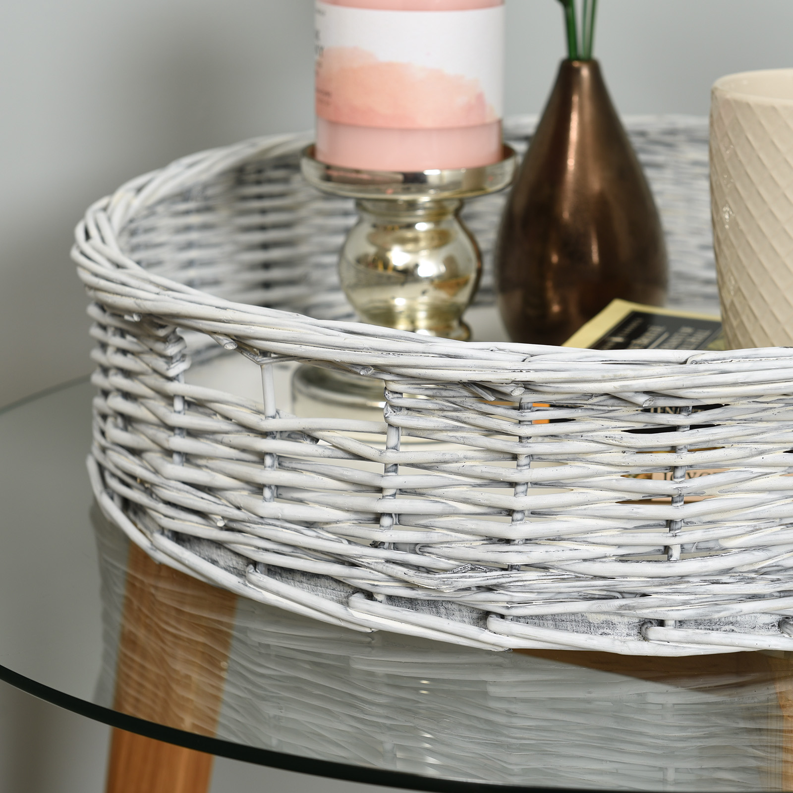 Hartleys-Round-Wicker-Serving-Tray-Decorative-Wooden-Platter-Coffee-Table-Decor thumbnail 11