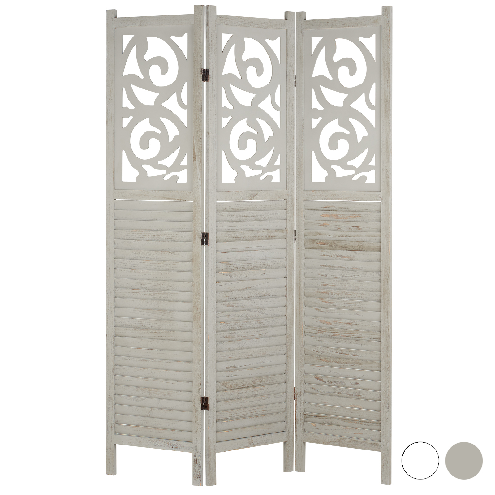 Details About Hartleys 3 Panel Wooden Room Divider Grey White Folding Parion Privacy Screen