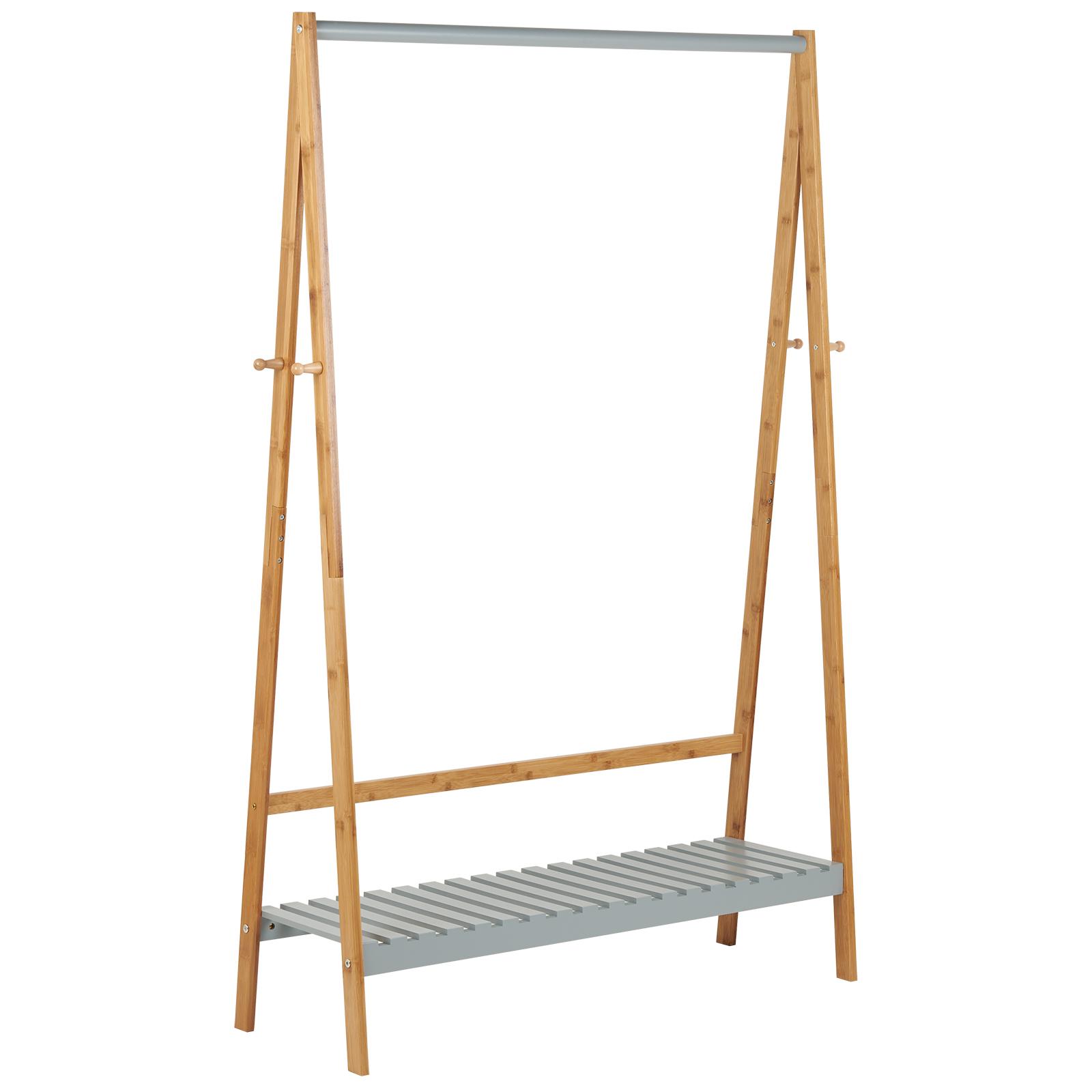Mobili In Bambu.Dettagli Su Hartleys Stand Appendiabiti Grigio Bambu Scaffale Mobili Da Camera Da Letto