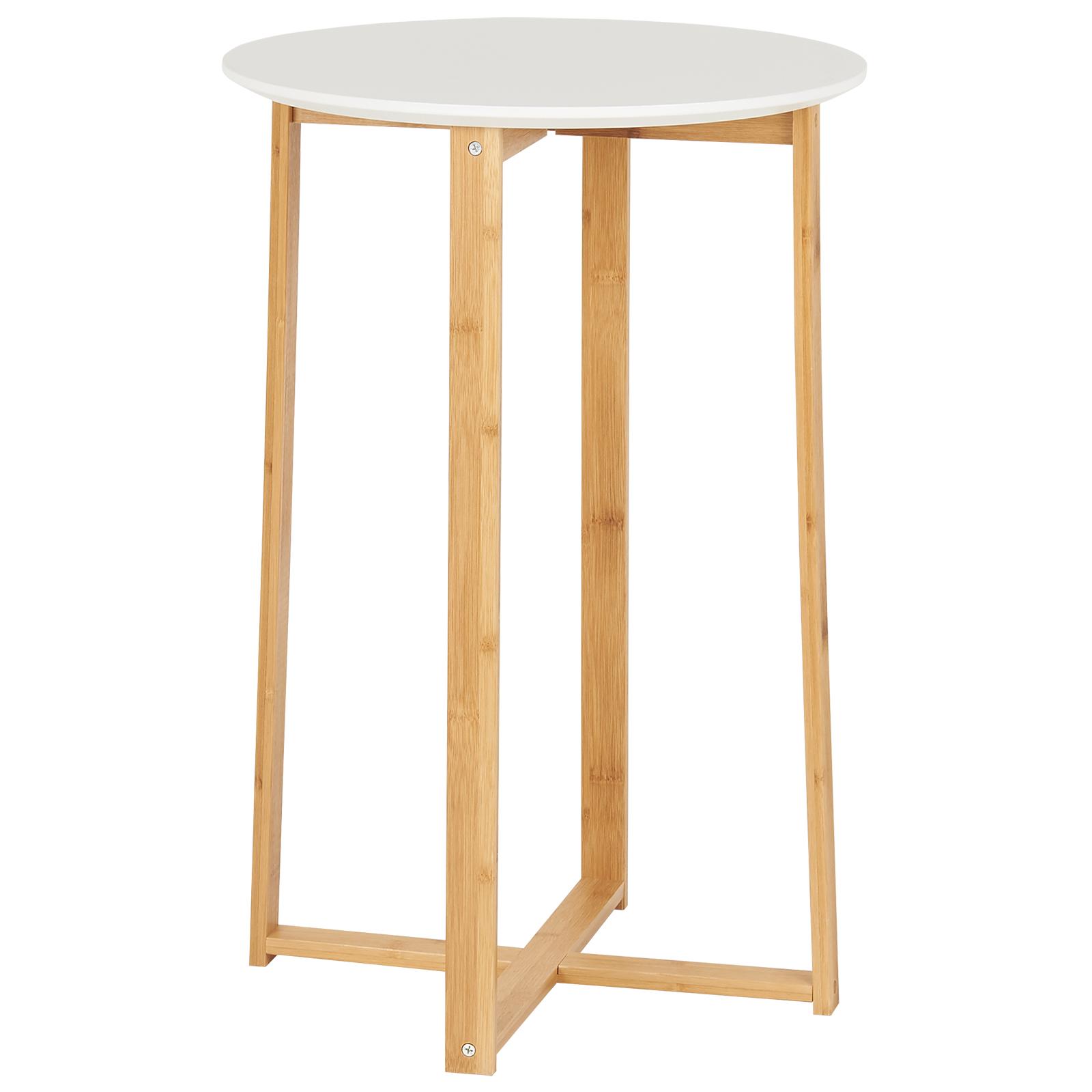 Tavolo Alto Bianco.Dettagli Su Hartleys Tavolino Alto Bianco E Bambu Stile Scandinava Tavoli Tavolini Alta