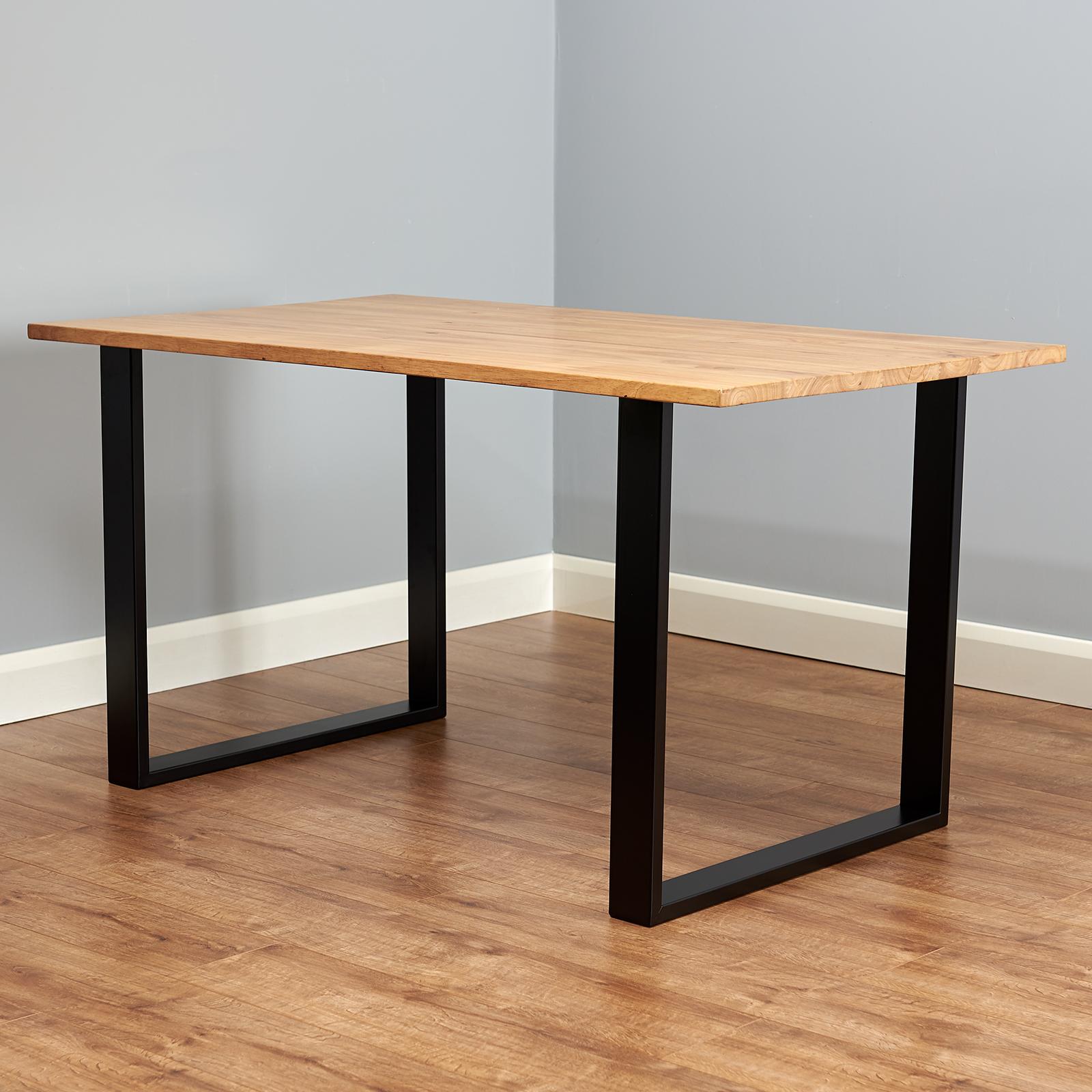 Table À Manger Industrielle détails sur lot de 2 industriel en métal carré pieds de table salle à  manger/table/bureau/bureau vente #457- afficher le titre d'origine
