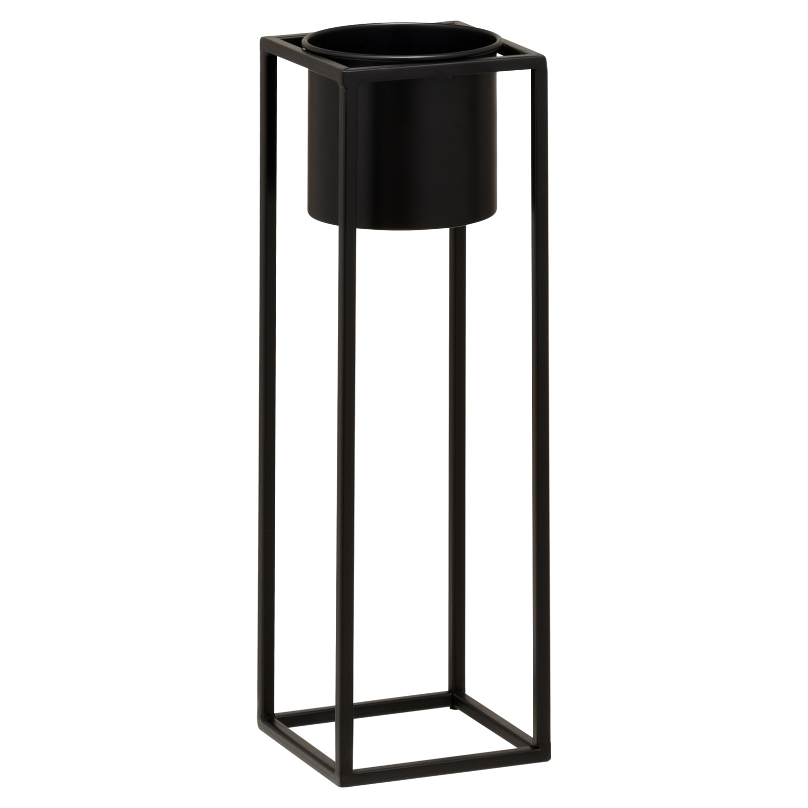 Hartleys-Small-Round-Freestanding-Black-Metal-Plant-Pot-Tall-Square-Floor-Stand thumbnail 13