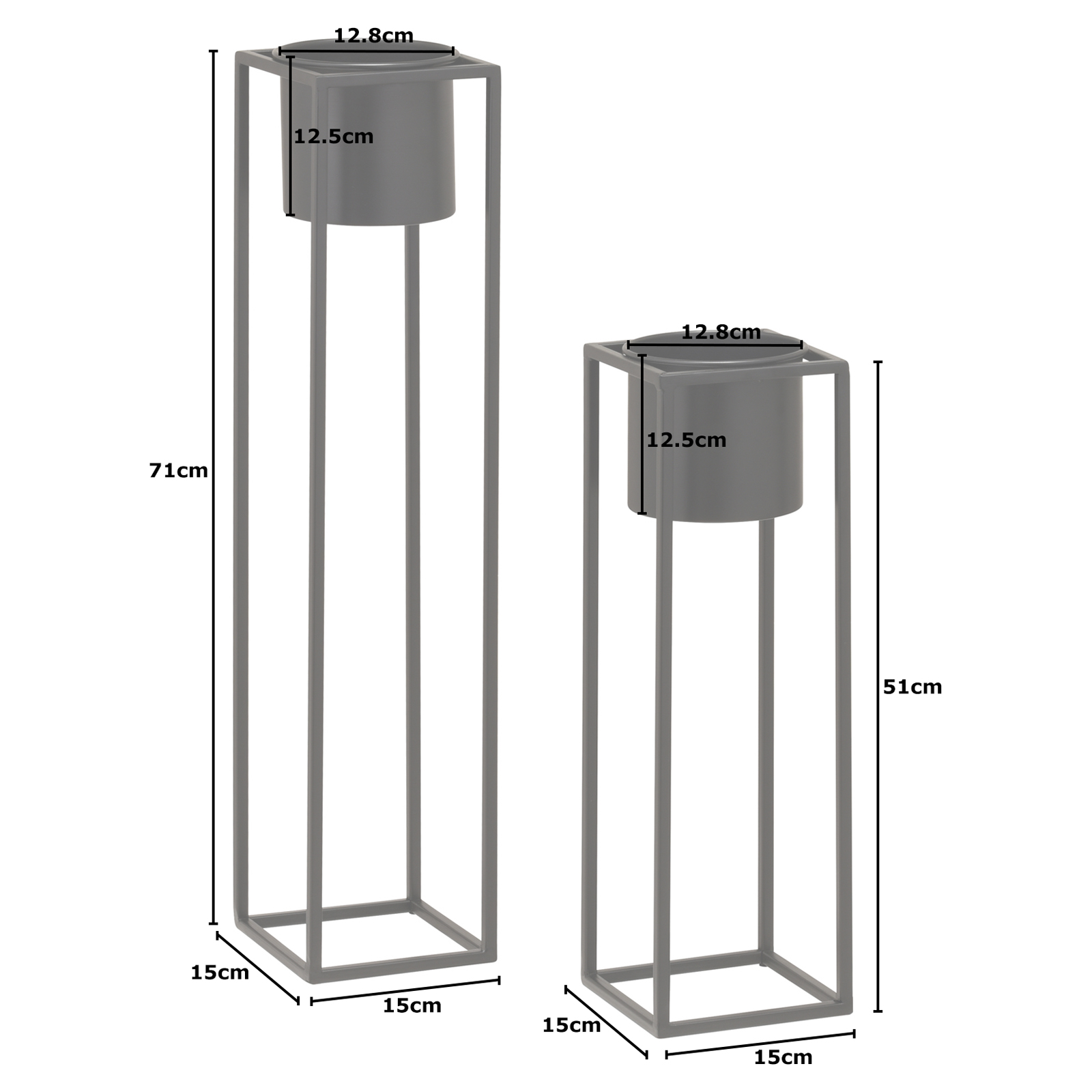 Hartleys-Small-Round-Freestanding-Black-Metal-Plant-Pot-Tall-Square-Floor-Stand thumbnail 15
