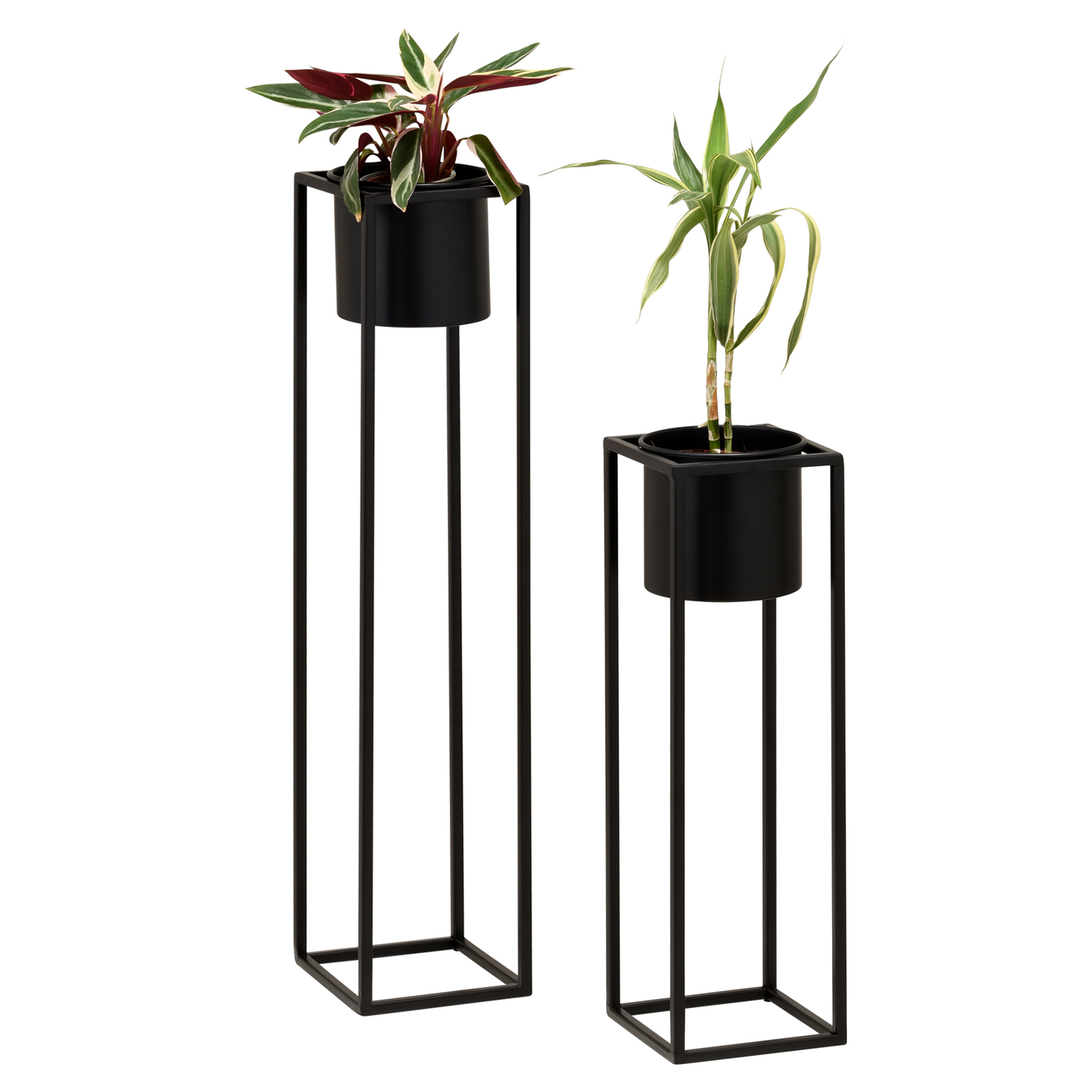 Hartleys-Small-Round-Freestanding-Black-Metal-Plant-Pot-Tall-Square-Floor-Stand thumbnail 14