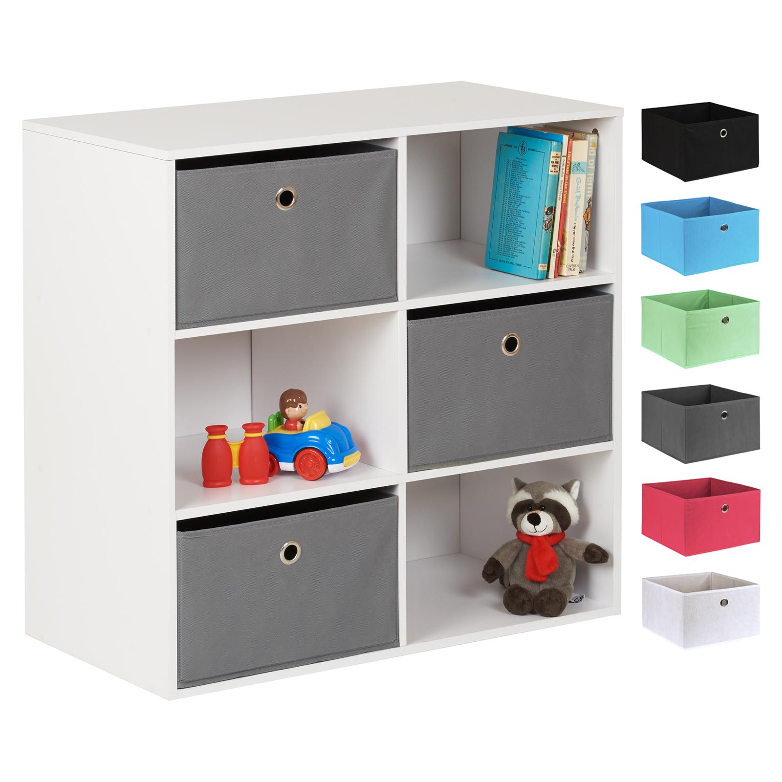 Jeux De Rangement De La Chambre détails sur hartleys blanc 6 cube enfants jouet/jeux livre étagère chambre  meuble de rangement & 3 tiroirs- afficher le titre d'origine