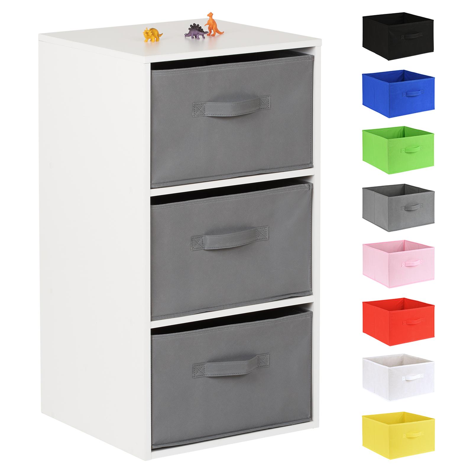 Jeux De Rangement De La Chambre détails sur hartleys blanc 3 cube enfants chambre À coucher/salle de jeux  étagère unité & tissu boîtes de rangement- afficher le titre d'origine