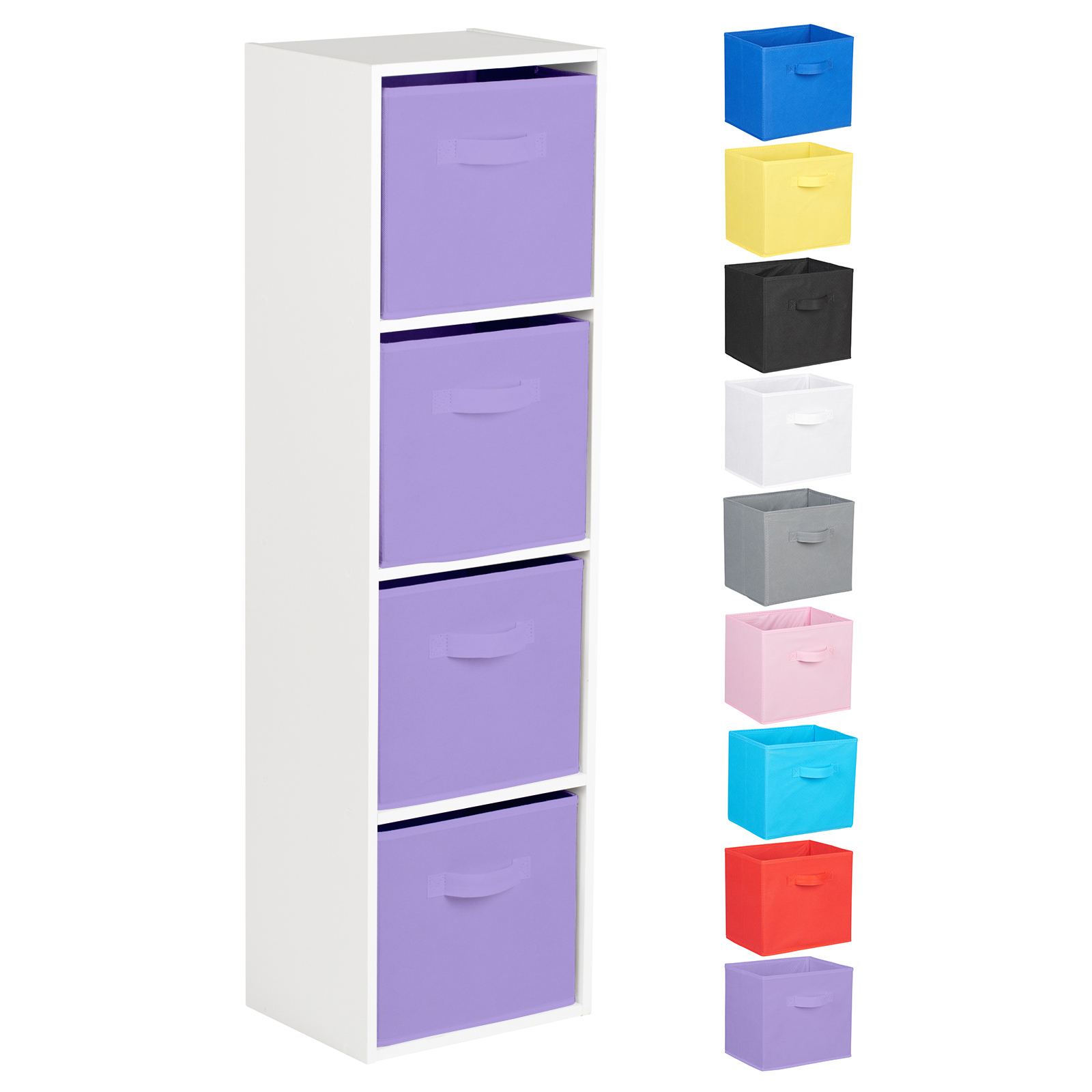 Hartleys-4-Tier-White-Bookcase-Wooden-Display-Shelving-Unit-amp-Fabric-Storage-Box thumbnail 29