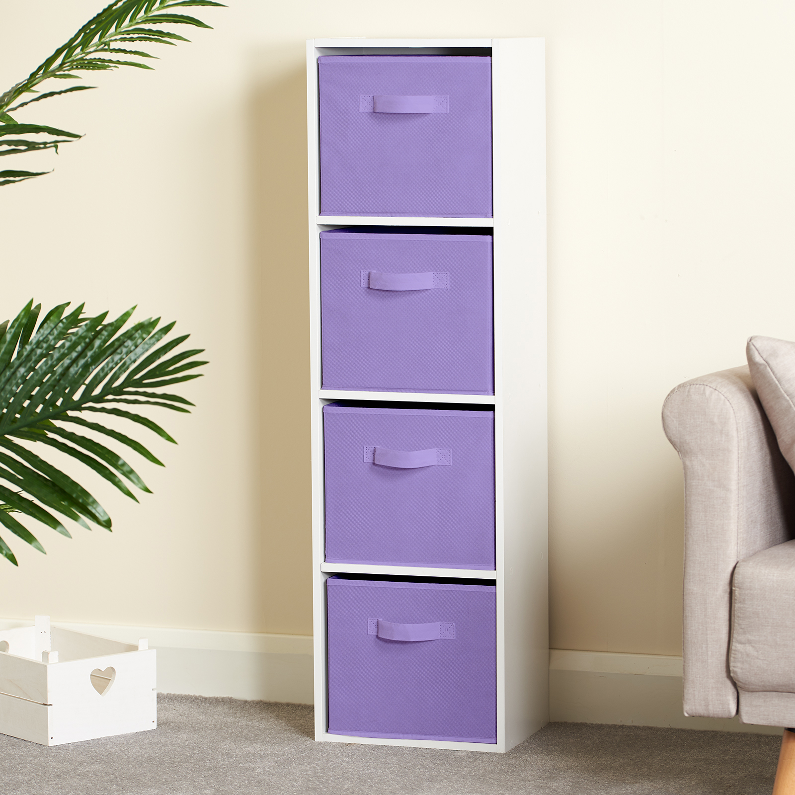Hartleys-4-Tier-White-Bookcase-Wooden-Display-Shelving-Unit-amp-Fabric-Storage-Box thumbnail 26
