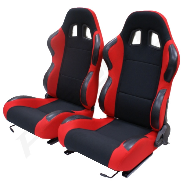 Sentinel Pair Of 2 Black Red Reclining Seats Adjustable Recliners Seat Car Buggy ATV