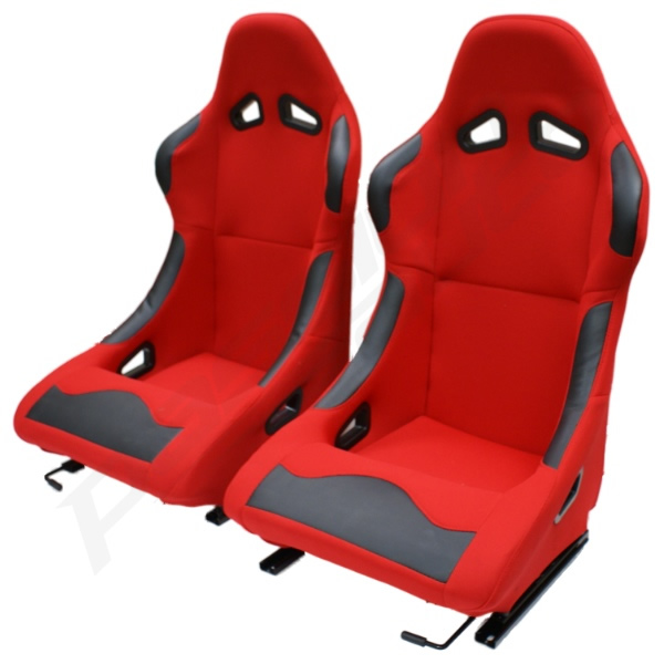 Sentinel Pair Of 2 Red Bucket Seats Fixed Back For Track/Racing Car Buggy  Off Roader