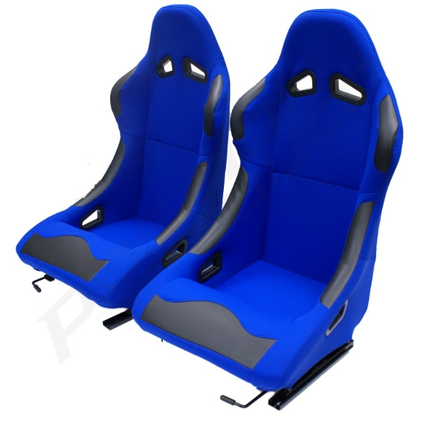 Pair of 2 Blue Bucket Seats Fixed Back for Track/Racing Car Buggy ...